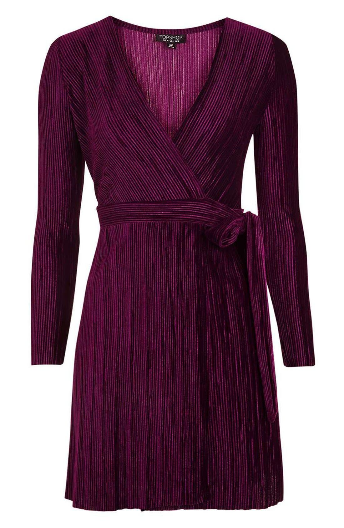 Velvet Wrap Dress,                             Alternate thumbnail 4, color,                             Wine