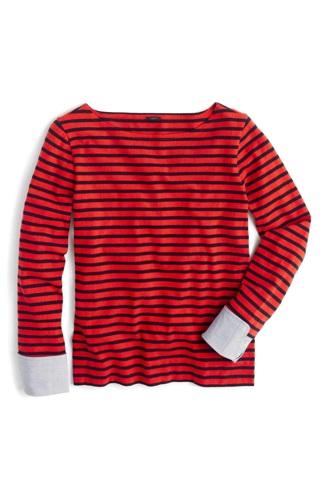 Alternate Image 1 Selected - J.Crew Built-In Cuff Stripe Tee