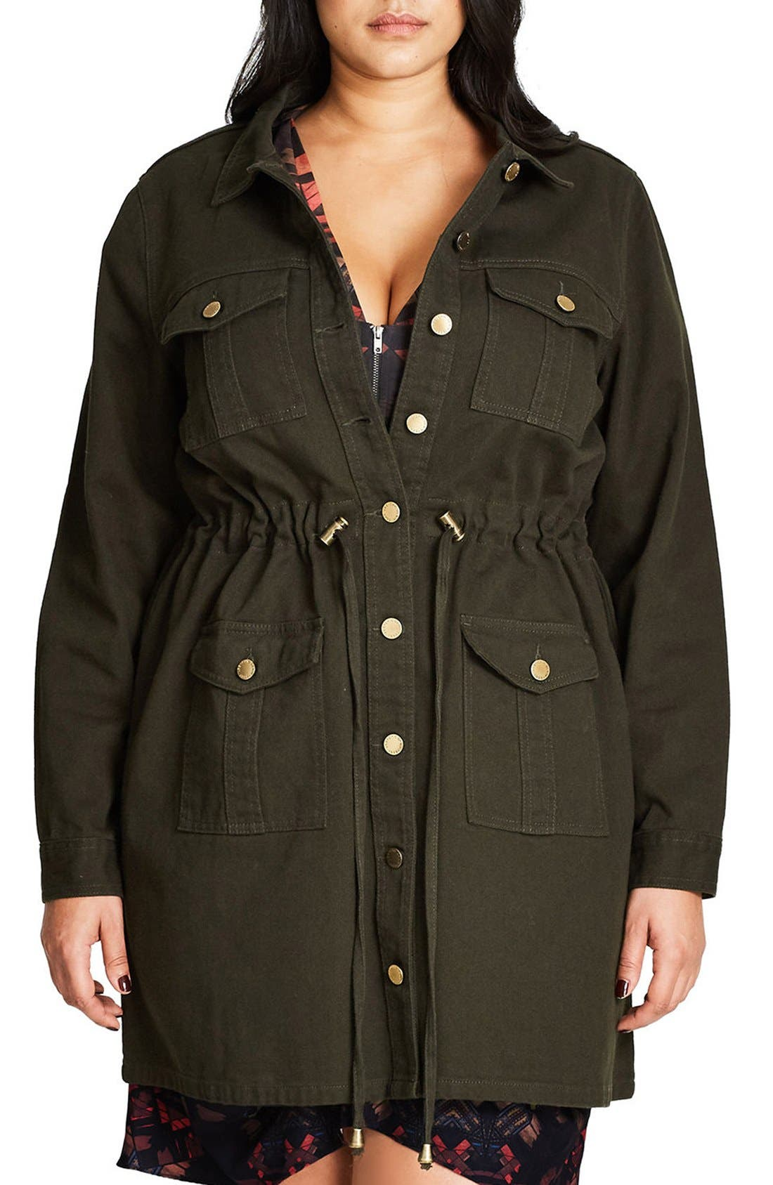 City Chic Adventure Time Long Utility Jacket (Plus Size)