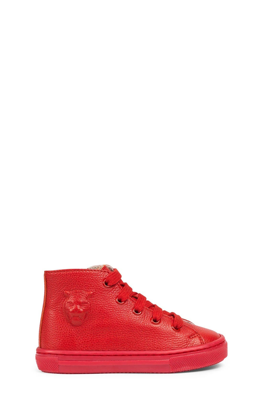 Major High Top Sneaker,                             Alternate thumbnail 4, color,                             Red Leather