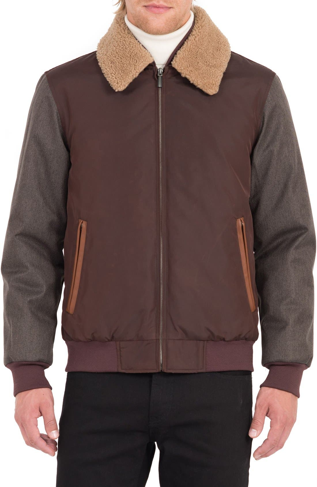 Waxed Nylon Jacket with Faux Shearling Collar,                         Main,                         color, Burgundy/ Acorn