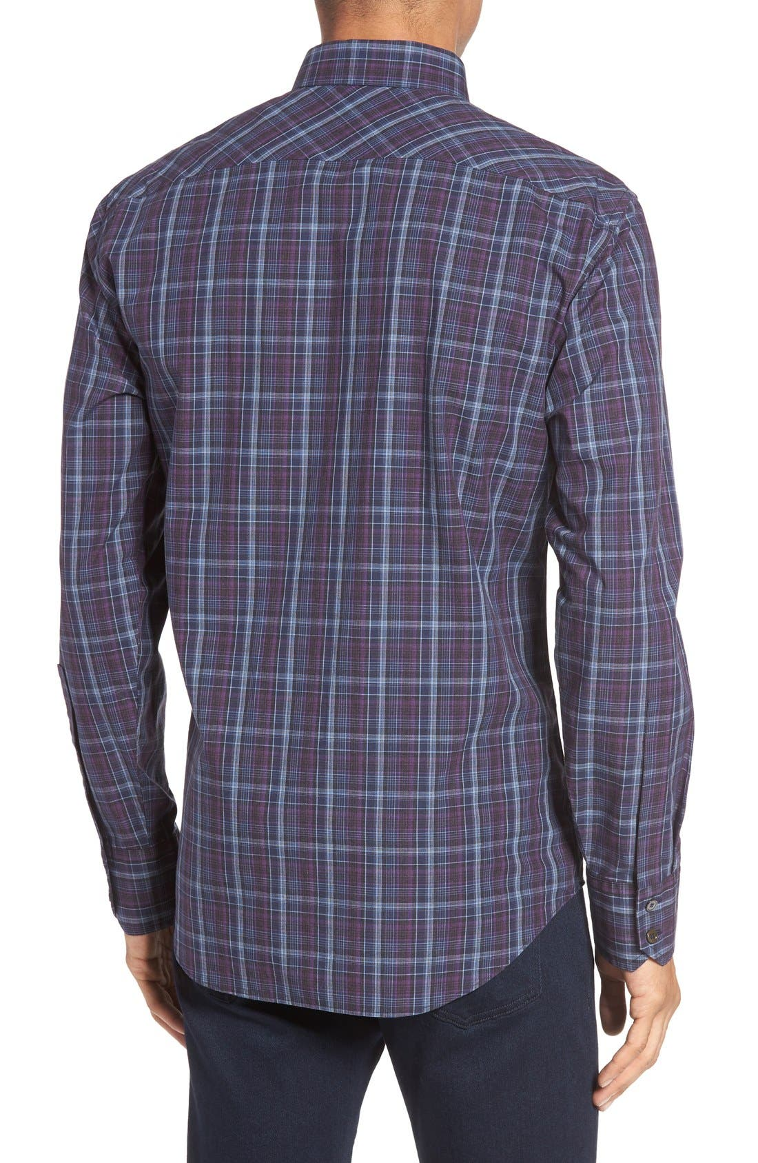 Bulatao Trim Fit Plaid Sport Shirt,                             Alternate thumbnail 2, color,                             Purple