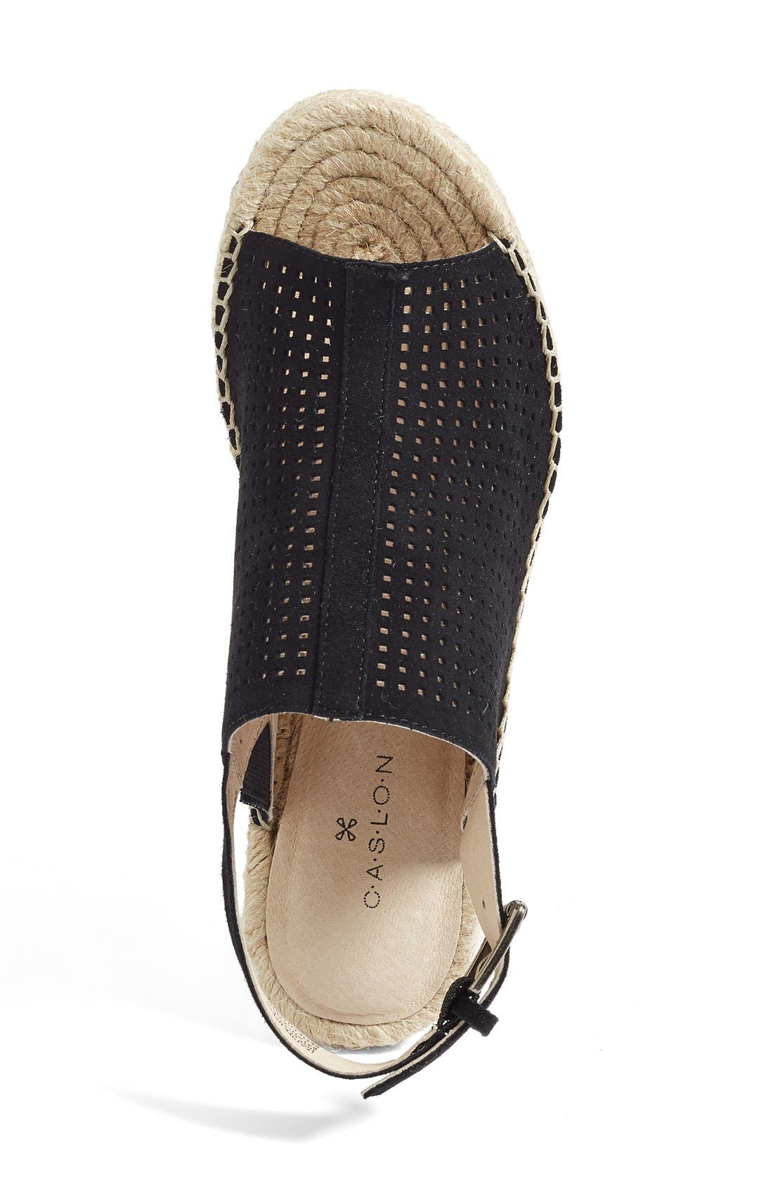 Sutton Slingback Sandal,                             Alternate thumbnail 3, color,                             Black Perferated Kidsuede