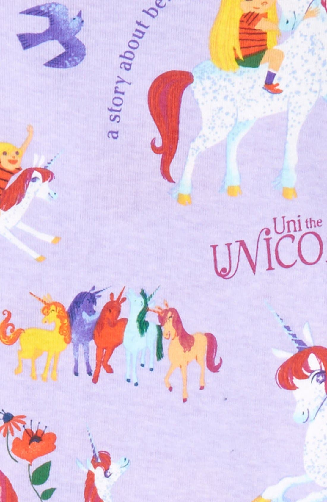 Alternate Image 2  - Books to Bed Uni the Unicorn Fitted Two-Piece Pajamas & Book Set (Toddler Girls, Little Girls & Big Girls)
