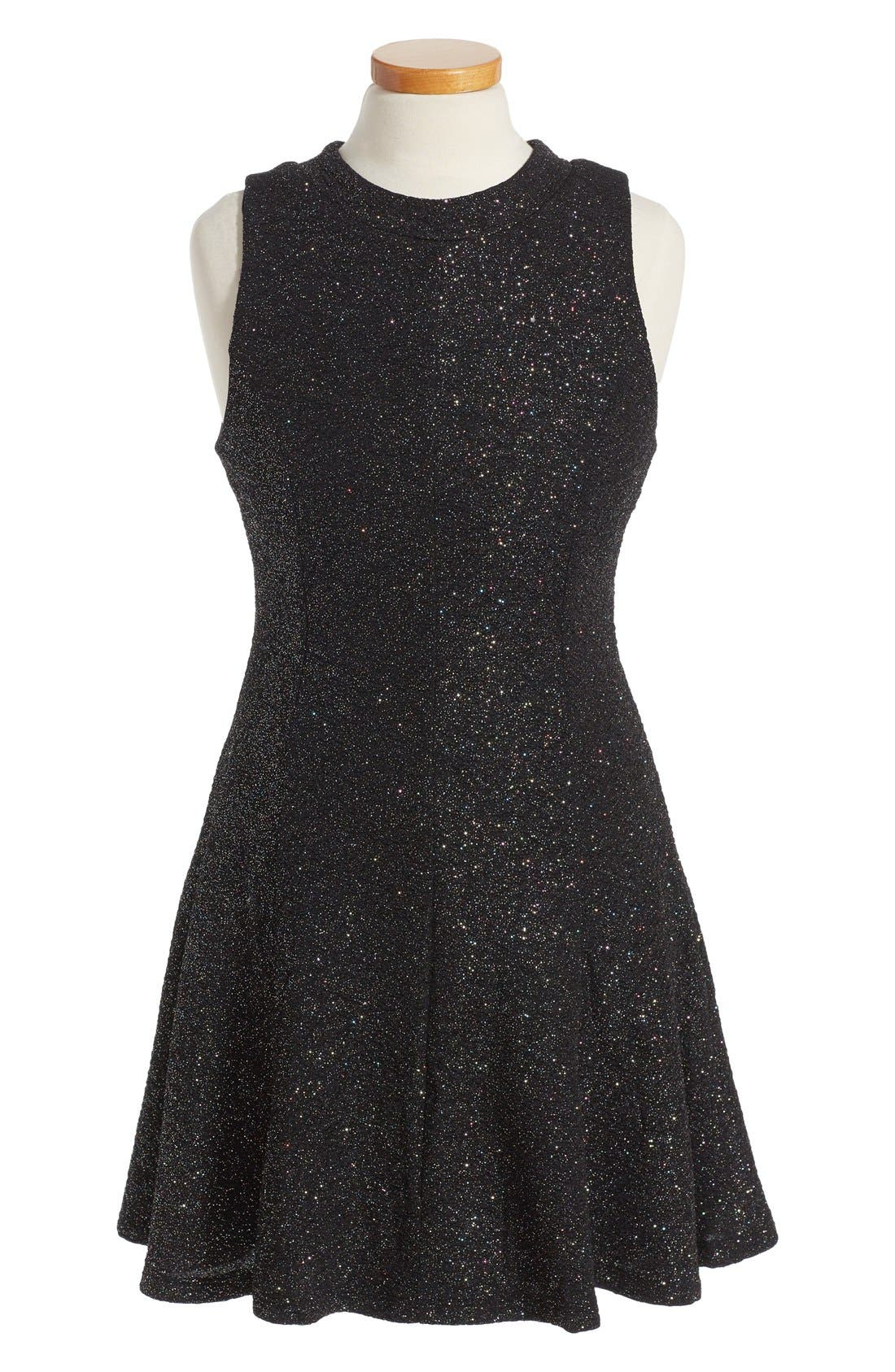 Shimmer Swing Dress,                             Main thumbnail 1, color,                             Black