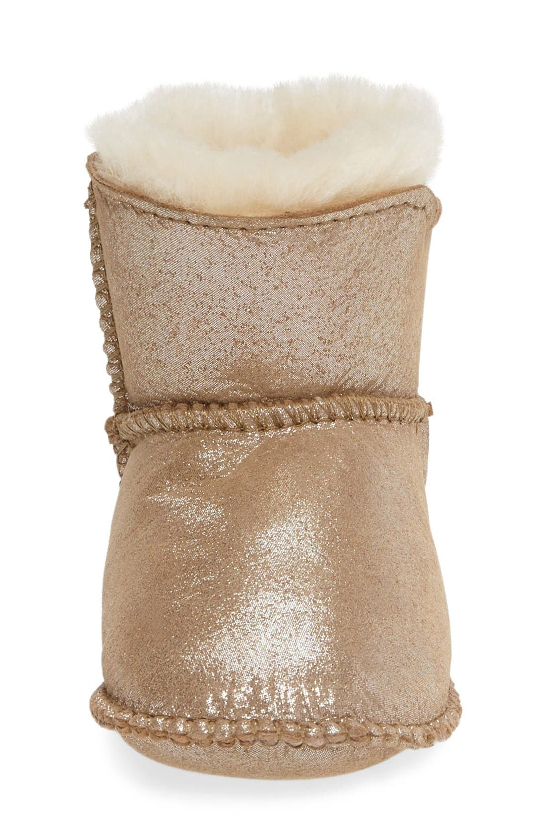 Water Resistant Metallic Bootie,                             Alternate thumbnail 3, color,                             Sand