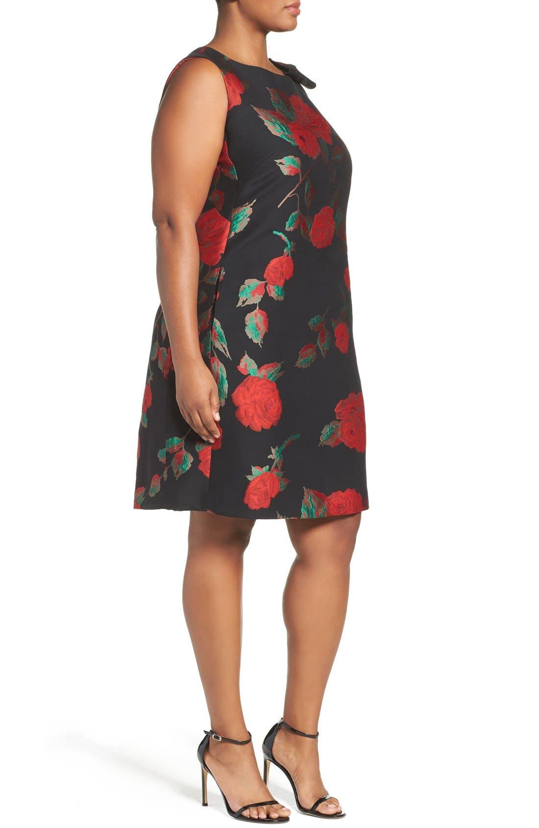 Alternate Image 3  - Tahari Rose Jacquard Shift Dress (Plus Size)