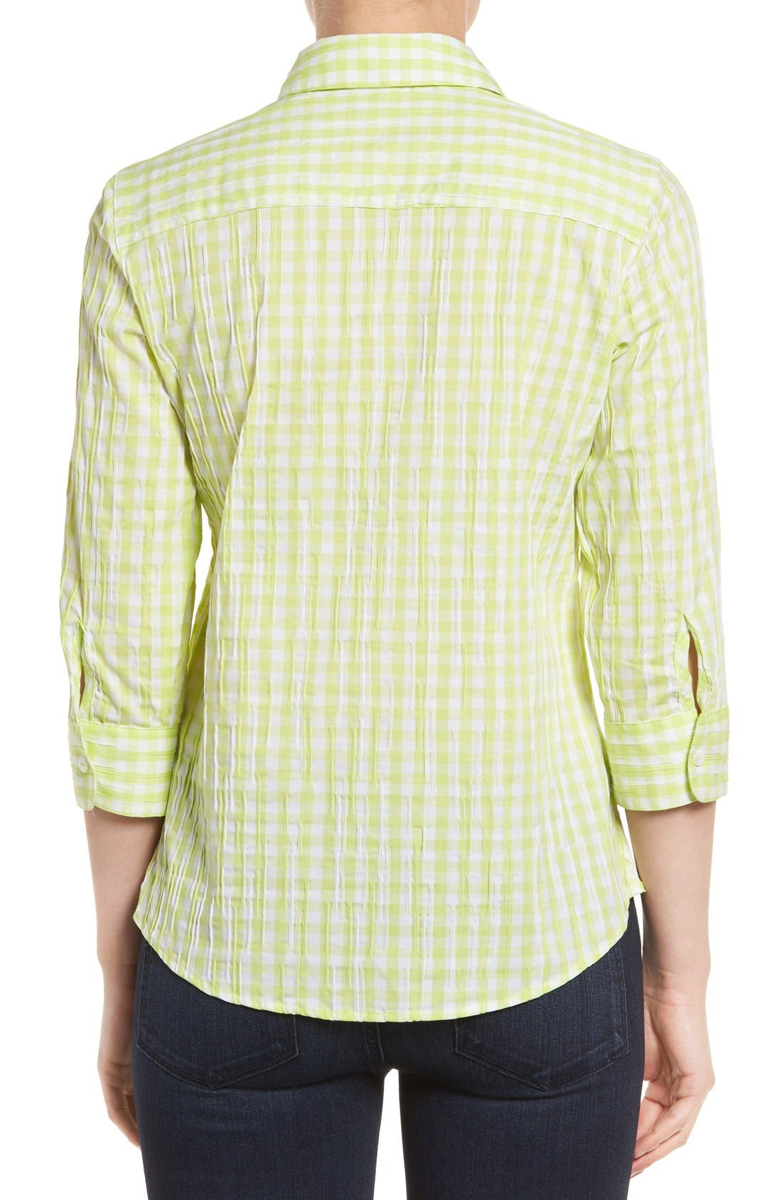 Alternate Image 2  - Foxcroft Crinkled Gingham Shirt (Regular & Petite)