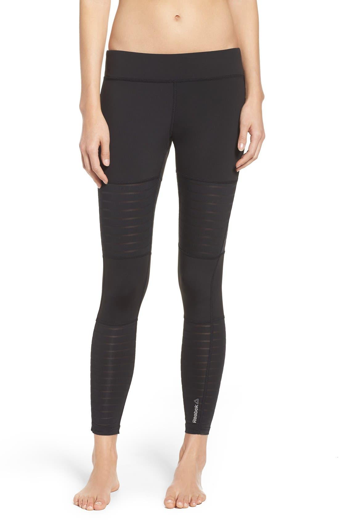 Dance Mesh Leggings,                         Main,                         color, Black