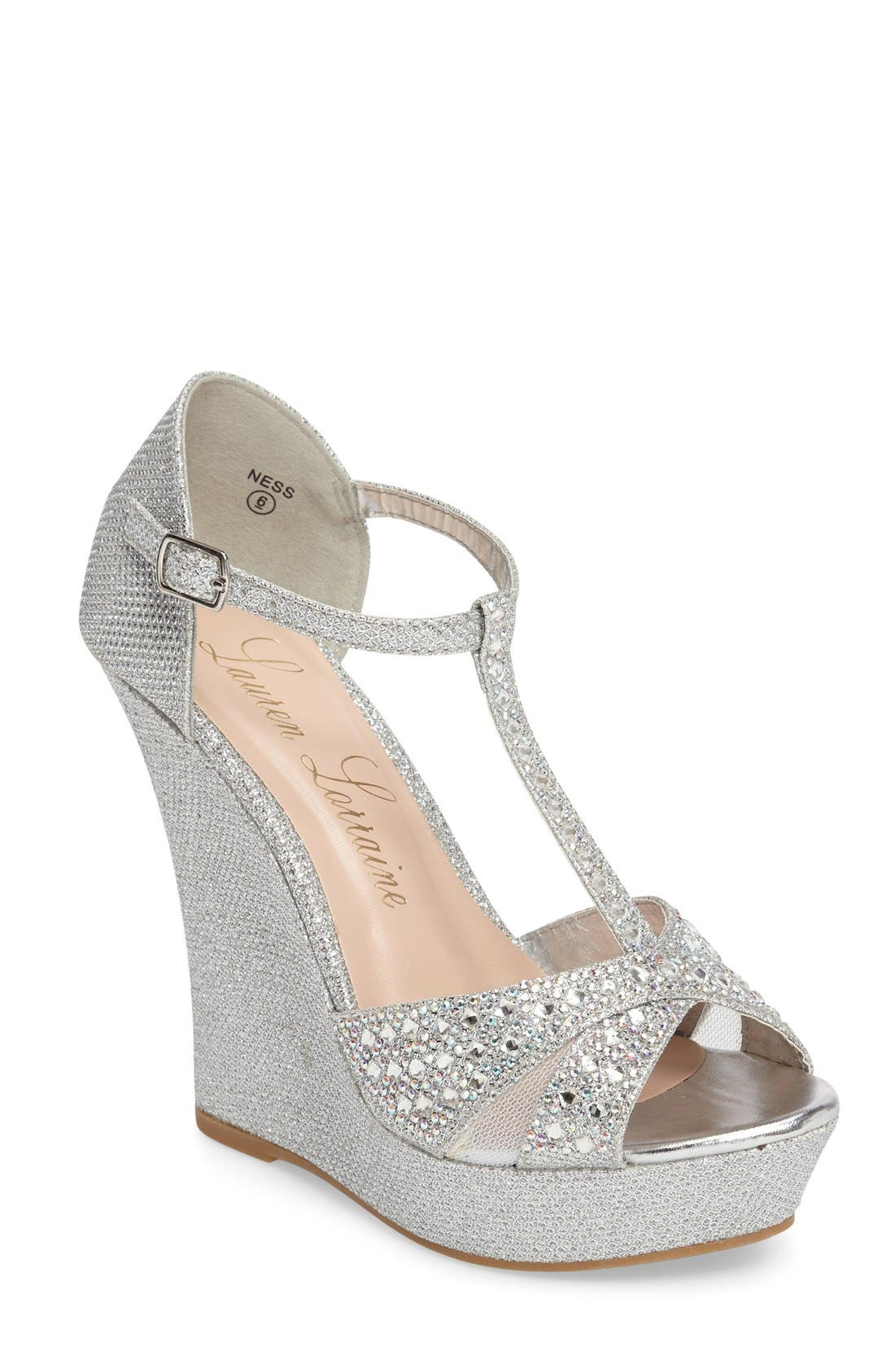 Ness Crystal Embellished Wedge Sandal,                             Main thumbnail 1, color,                             Silver