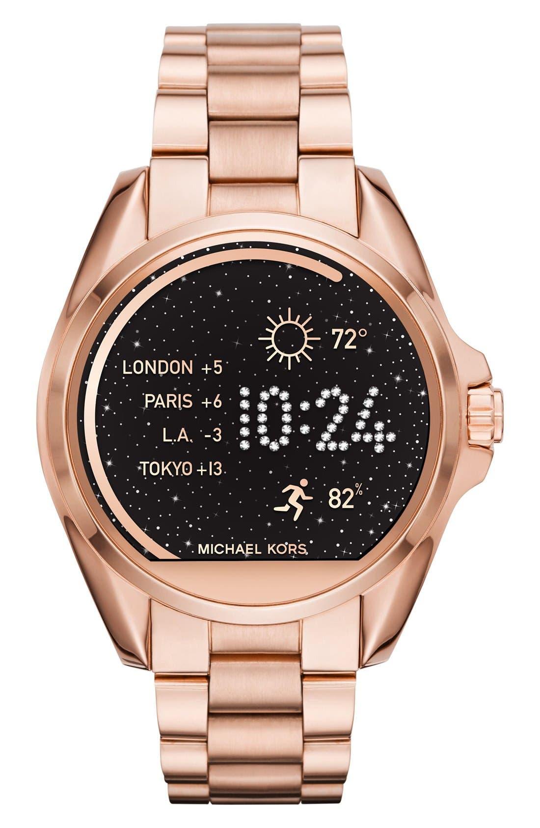 MICHAEL Michael Kors Bradshaw Access Bracelet Smart Watch, 45mm,                         Main,                         color, Rose Gold