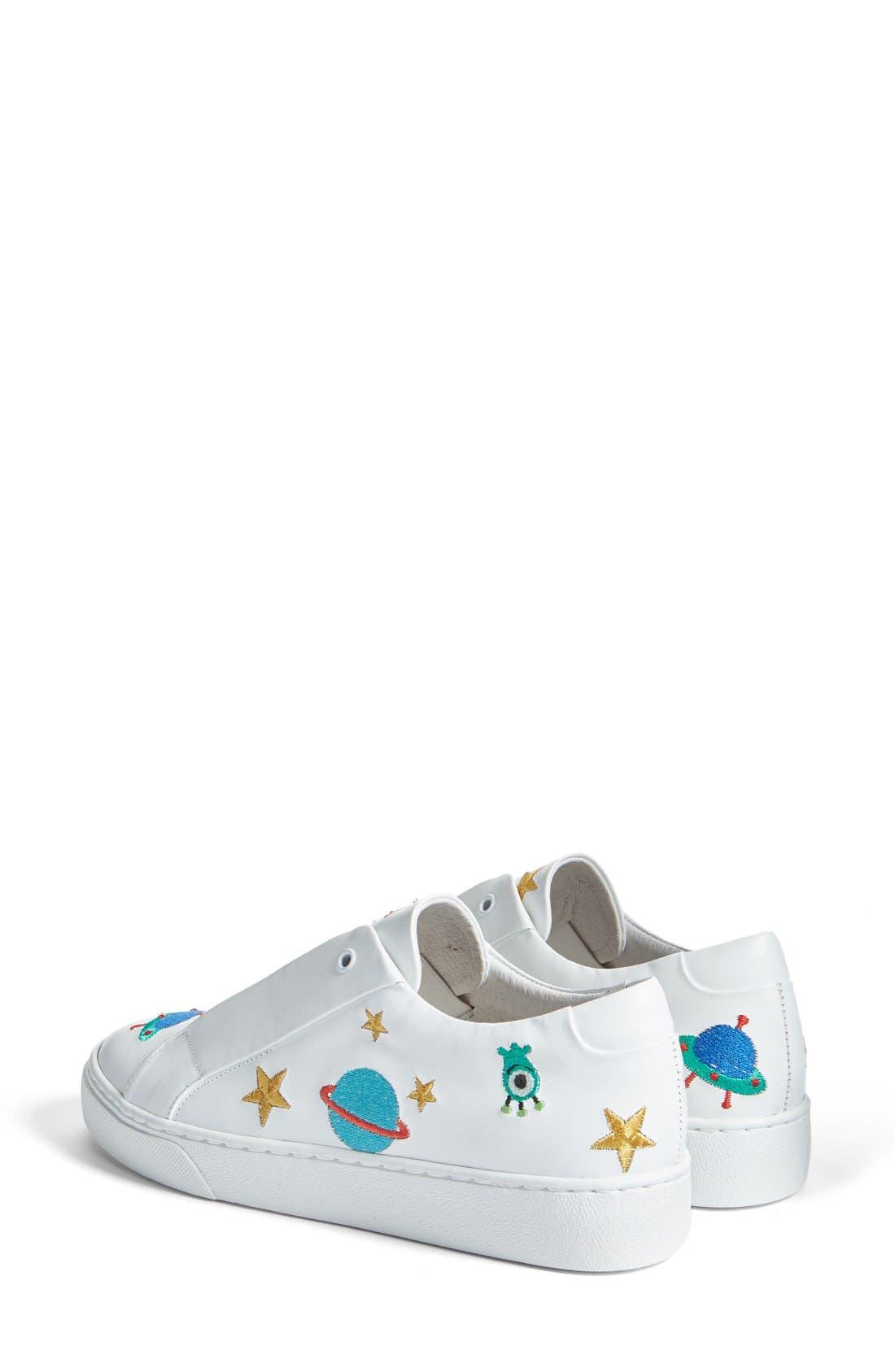 Halley Slip-On Sneaker,                             Alternate thumbnail 2, color,                             White Leather
