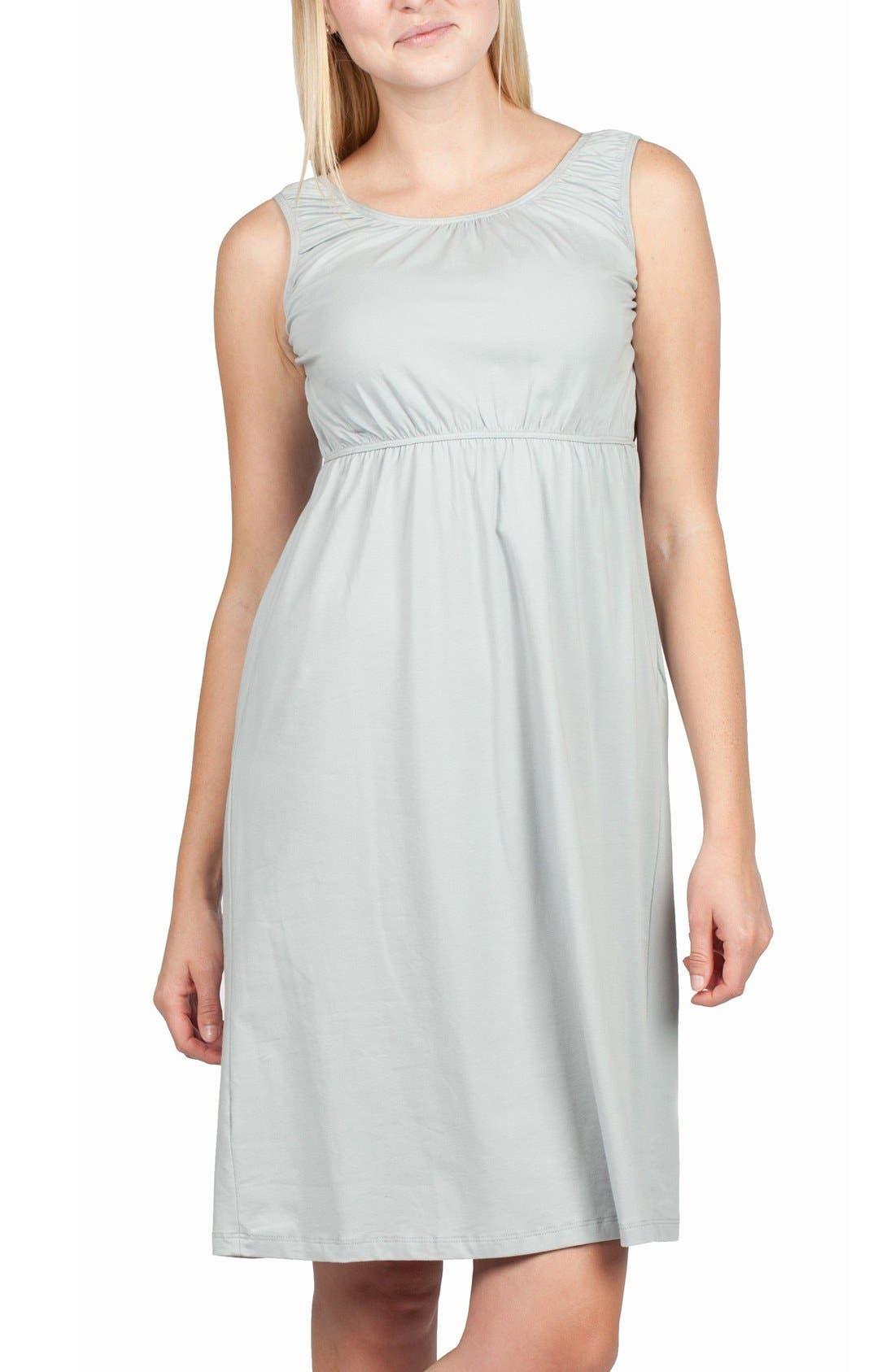 Oxford Maternity/Nursing Nightgown,                         Main,                         color, Grey