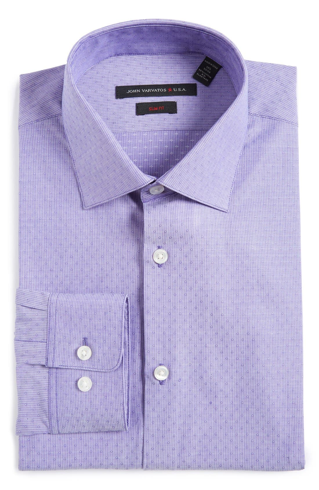 JOHN VARVATOS STAR USA Soho Slim Fit Stretch Stripe Dress Shirt