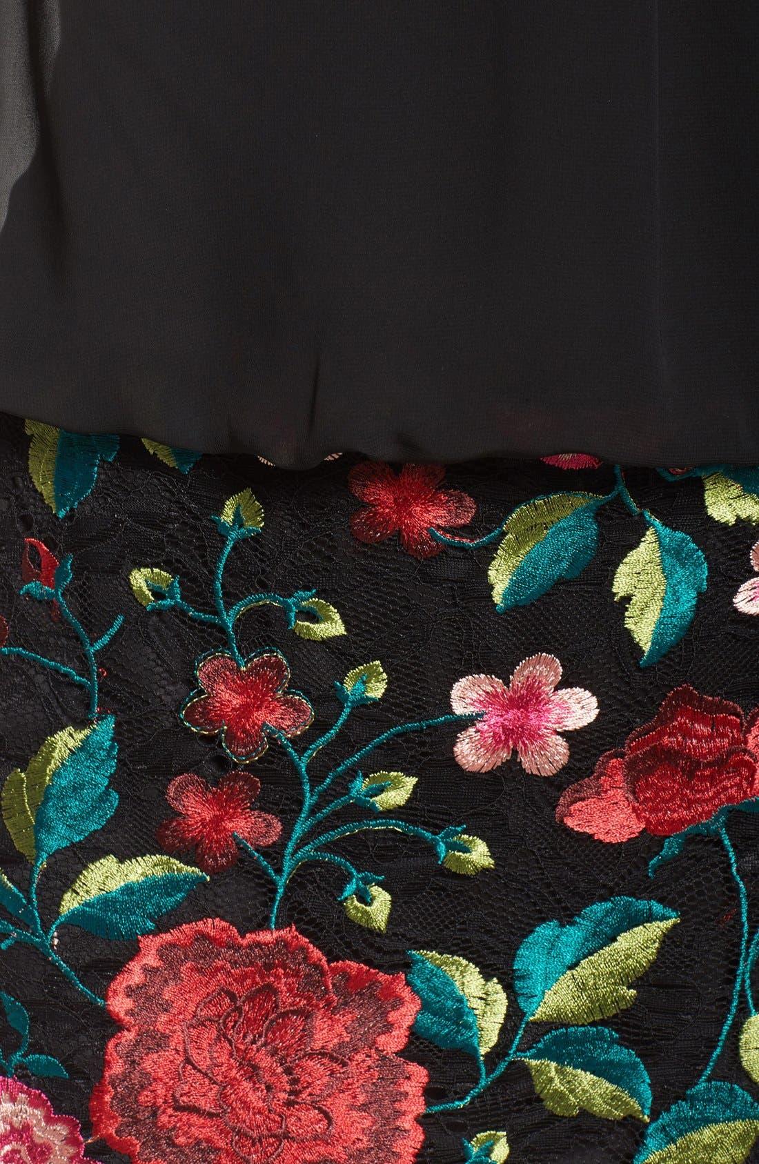 Alternate Image 6  - Aidan by Aidan Mattox Chiffon & Embroidered Lace Dress