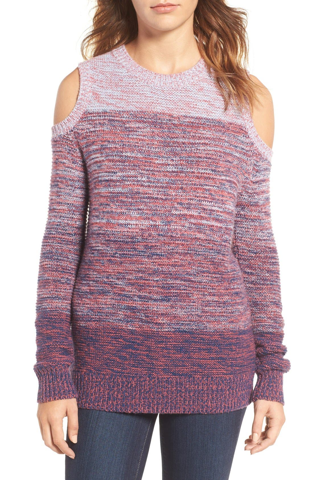 Alternate Image 1 Selected - Rebecca Minkoff Page Stripe Cold Shoulder Sweater