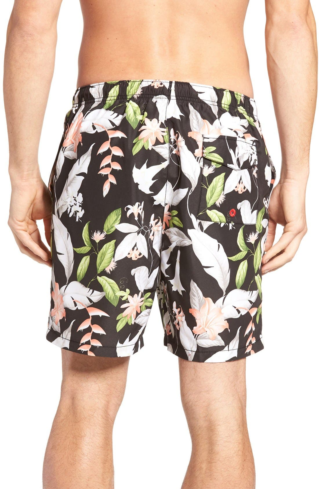 Naples Brego Blooms Swim Trunks,                             Alternate thumbnail 2, color,                             Jet Black