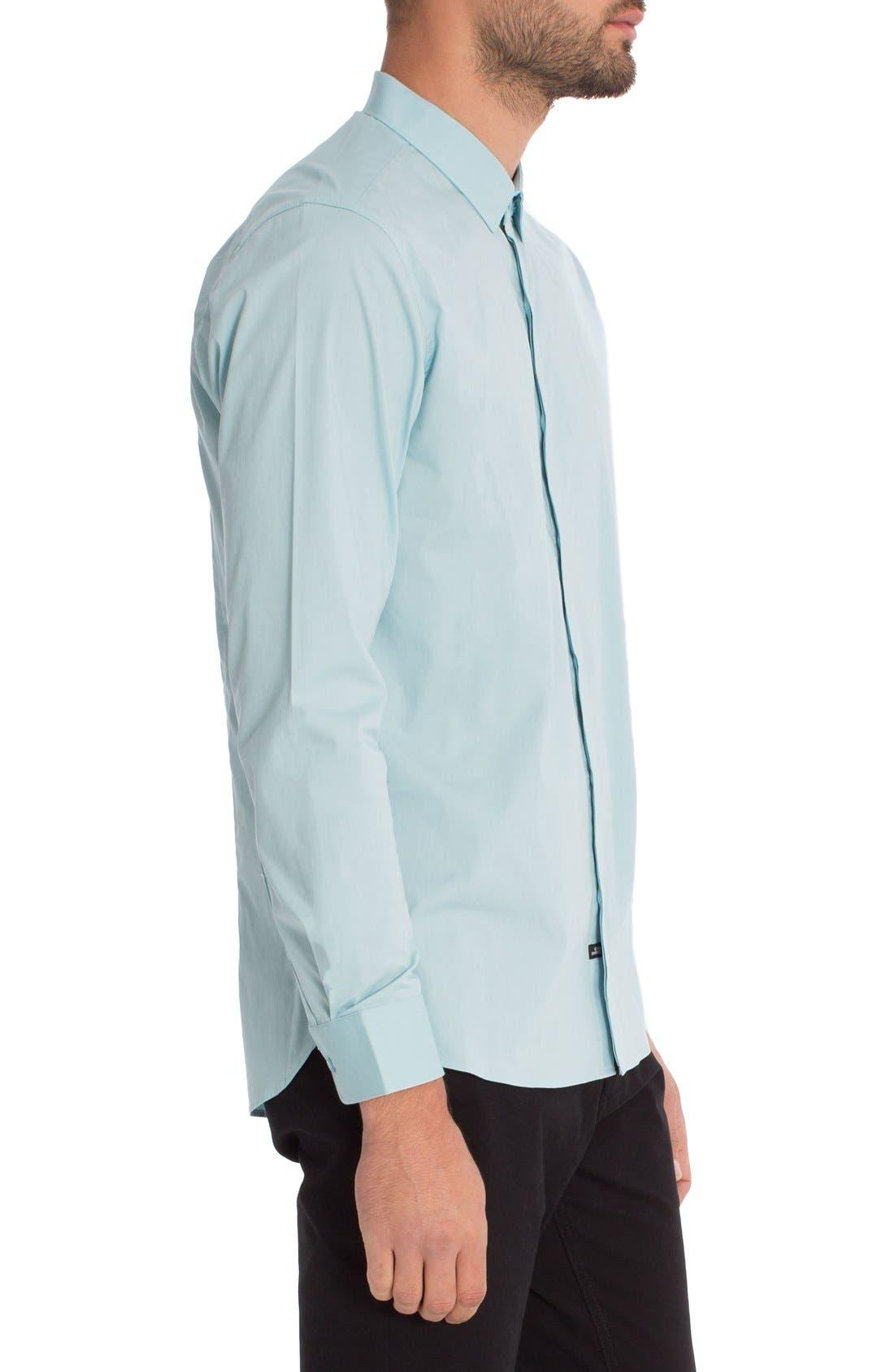 'Peace Train' Trim Fit Woven Shirt,                             Alternate thumbnail 3, color,                             Sterling Blue