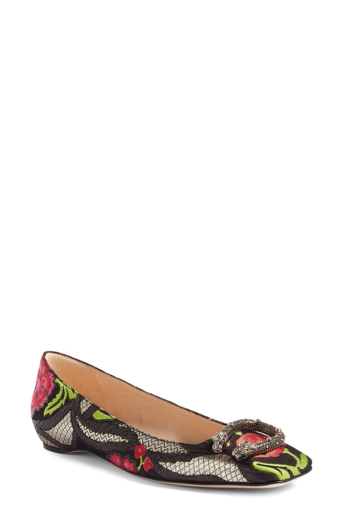Gucci Dionysus Embellished Square Toe Flat (Women)