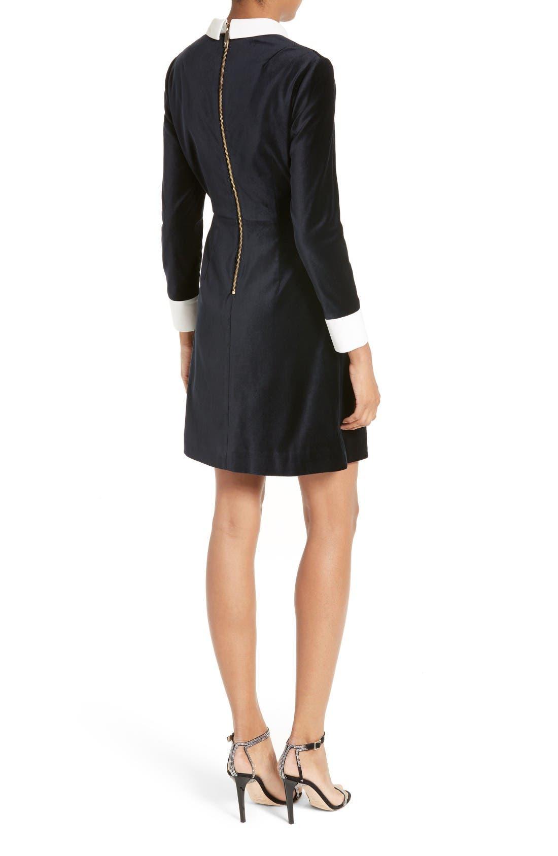 Cheryll Embellished Collar Velvet Dress,                             Alternate thumbnail 2, color,                             Blue