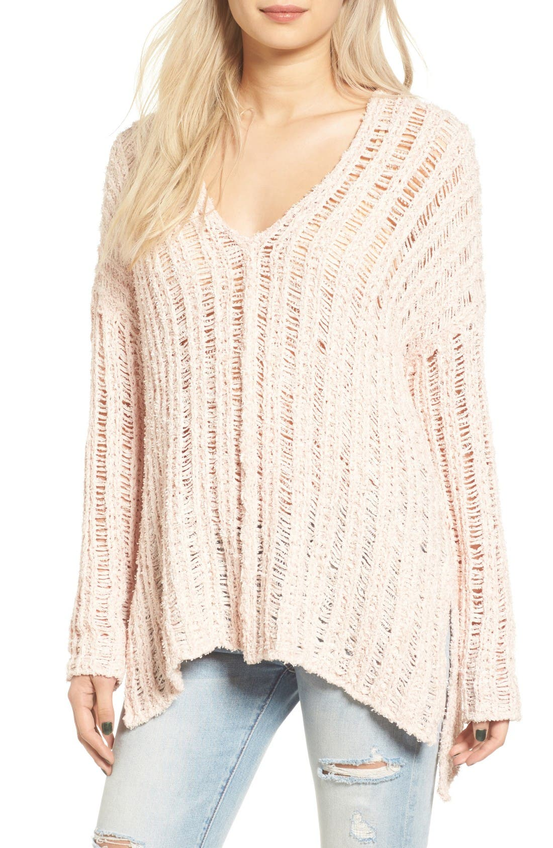 Open Knit Sweater,                             Main thumbnail 1, color,                             Pink Hero