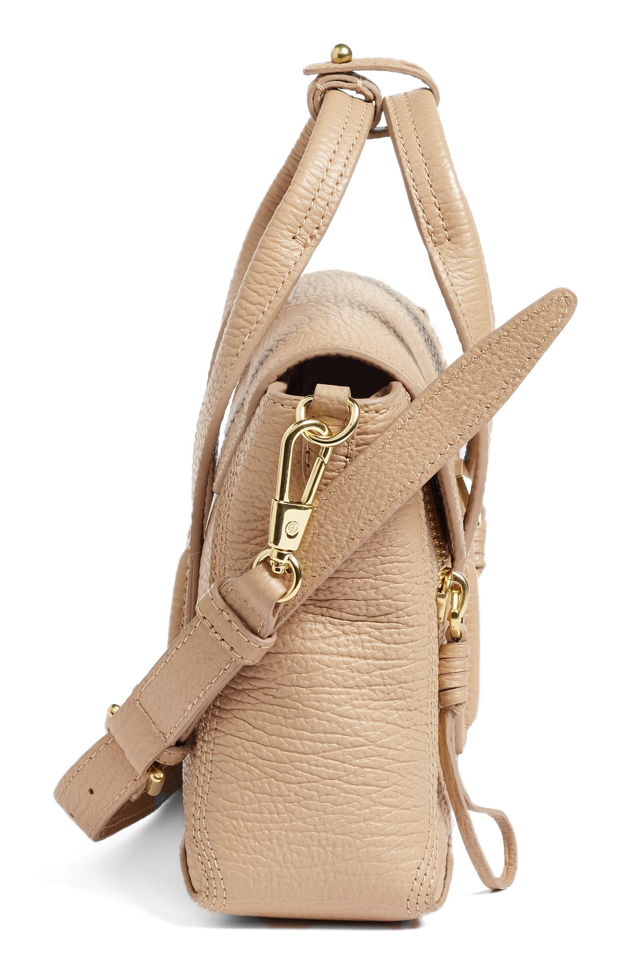 Mini Pashli Leather Satchel,                             Alternate thumbnail 5, color,                             Cashew/ Gold