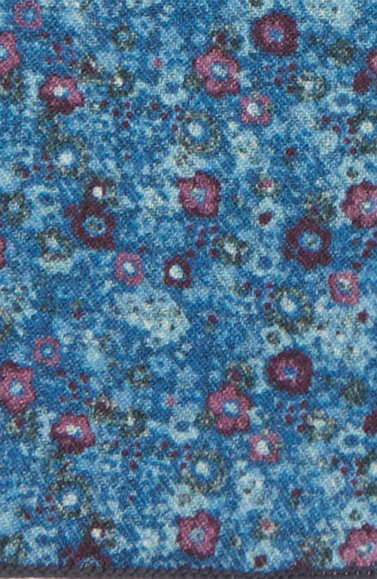 Floral Wool Pocket Square,                             Alternate thumbnail 3, color,                             Light Blue