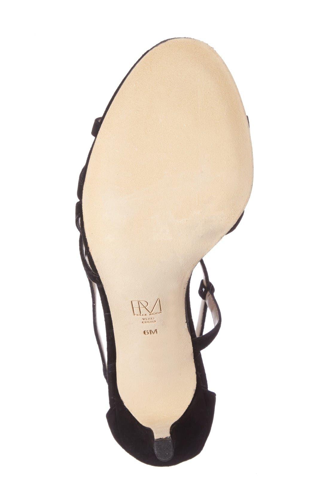 Ruby Asymmetrical Strappy Sandal,                             Alternate thumbnail 4, color,                             Black Leather