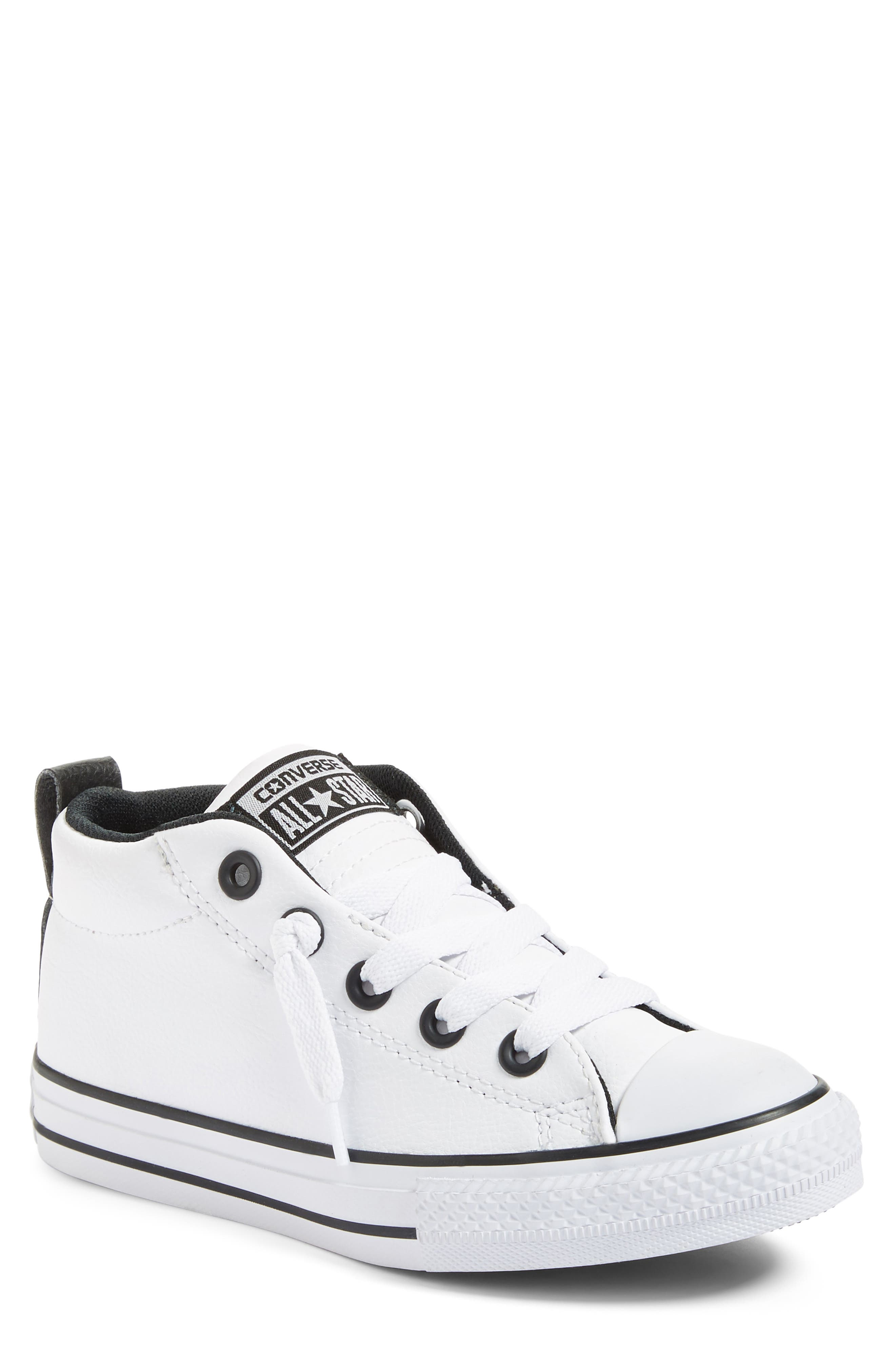 Chuck Taylor<sup>®</sup> All Star<sup>®</sup> Mid High Sneaker,                         Main,                         color, White/ Black