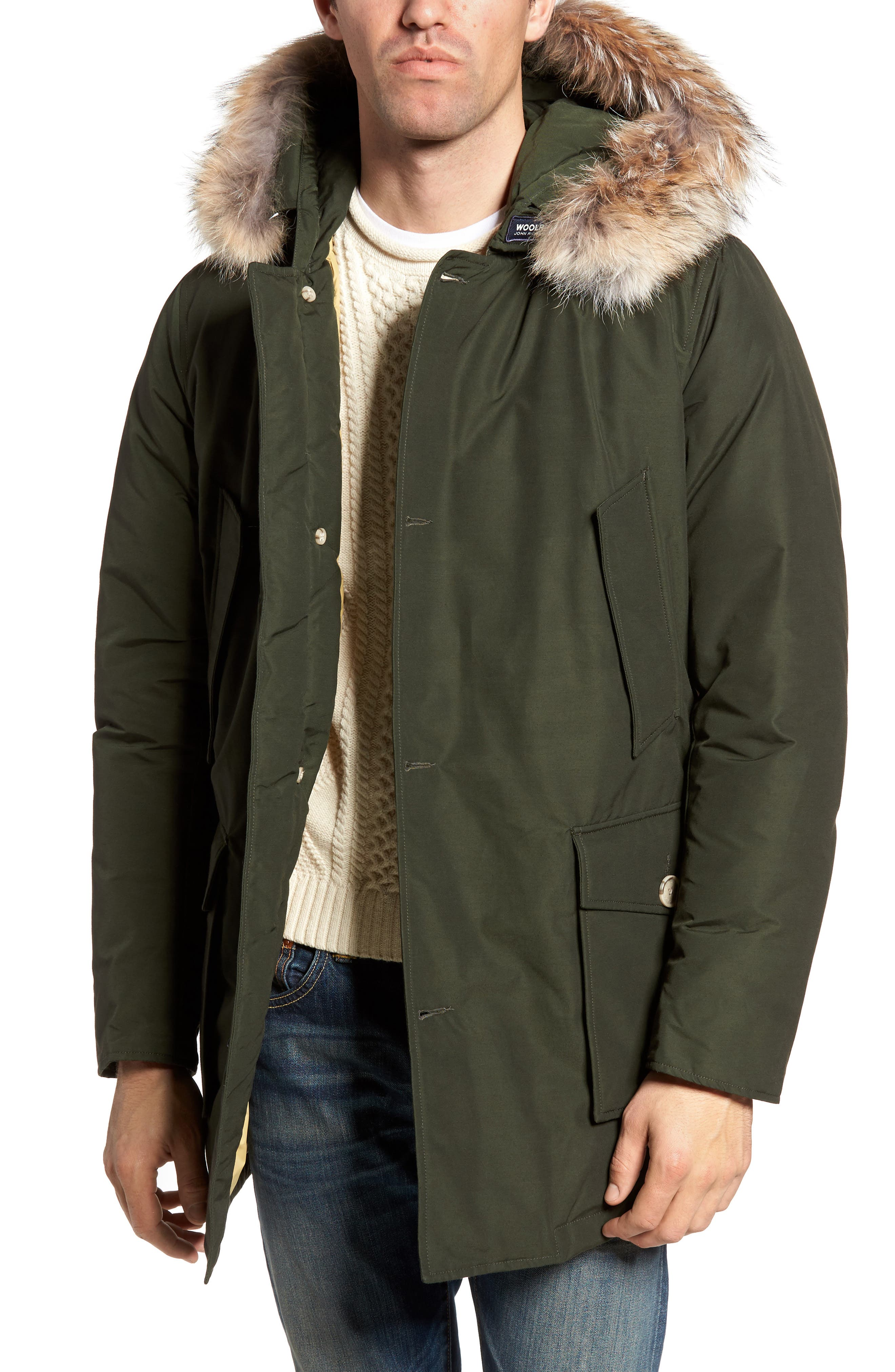 John Rich & Bros. Arctic Parka with Genuine Coyote Fur Trim,                         Main,                         color, Rosin Green