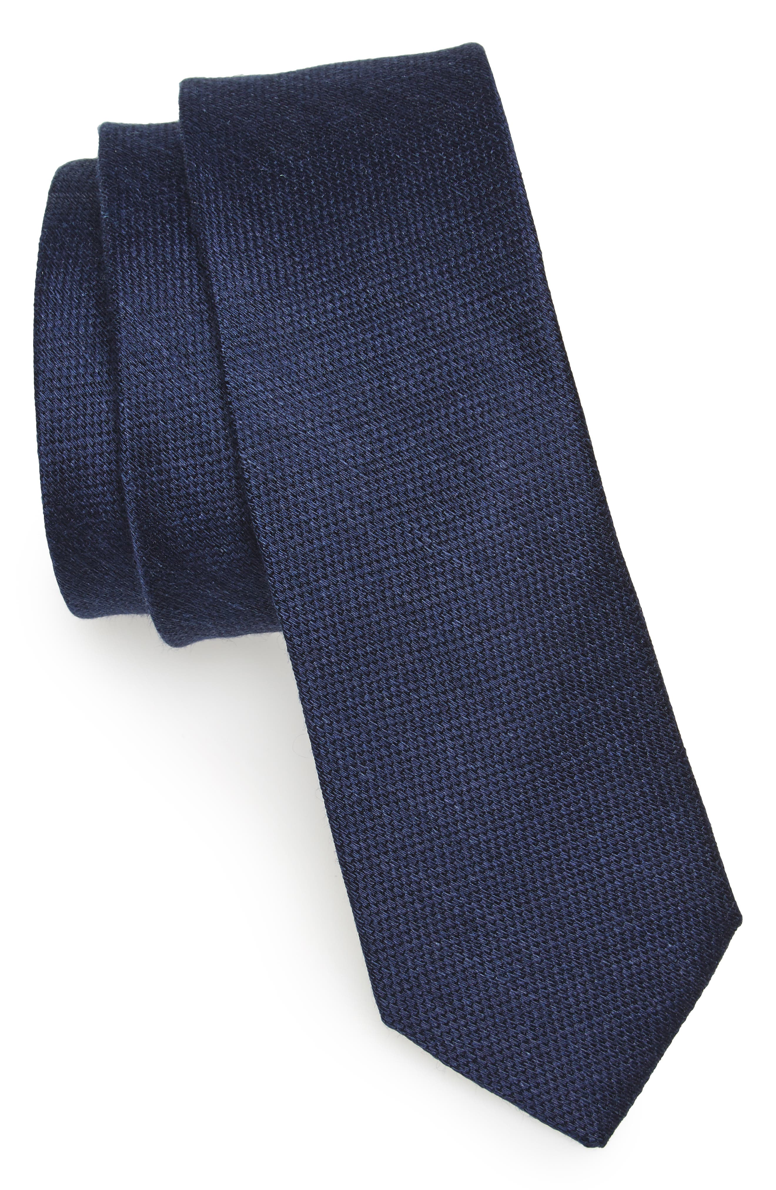 Festival Textured Silk & Linen Tie,                             Main thumbnail 1, color,                             Navy