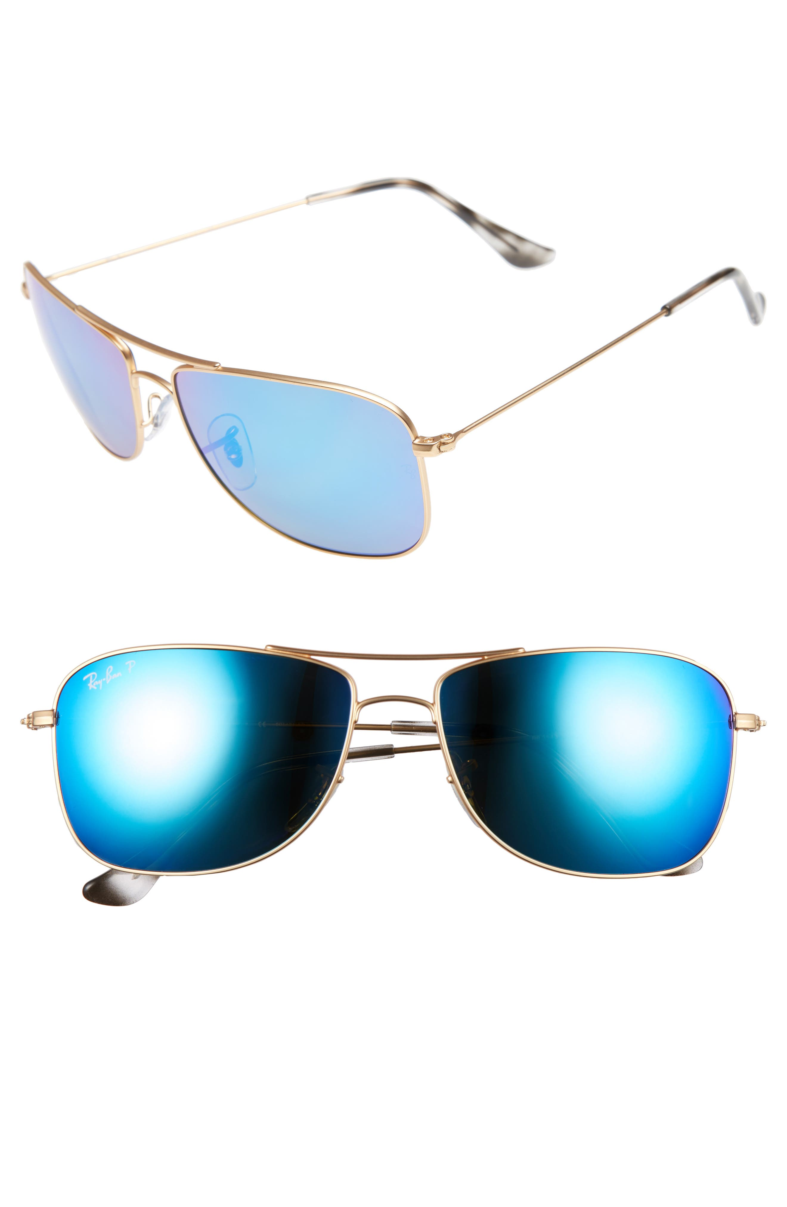 Main Image - Ray-Ban 59mm Polarized Aviator Sunglasses
