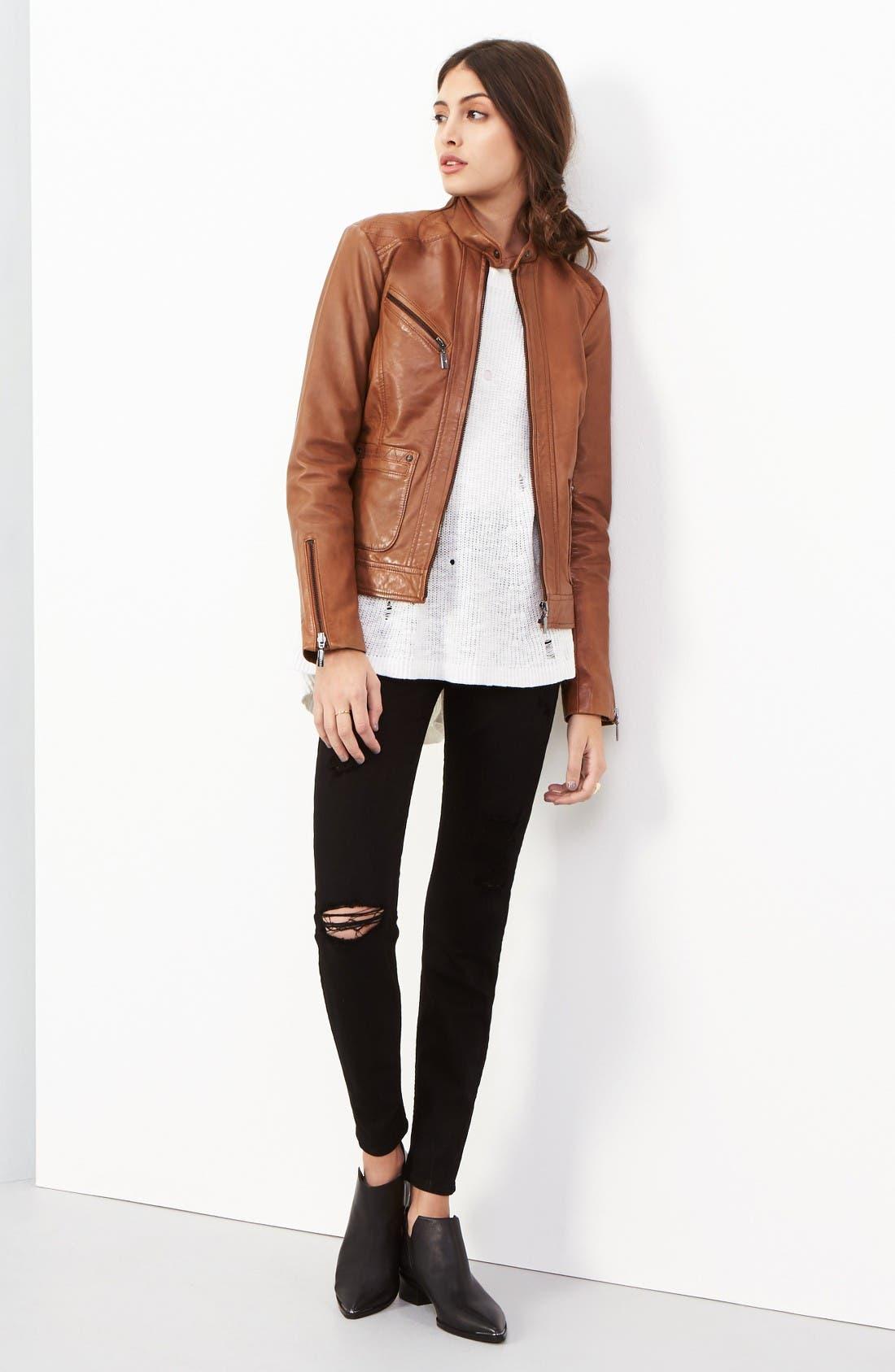 Alternate Image 2  - Bernardo Kirwin Leather Jacket (Regular & Petite)