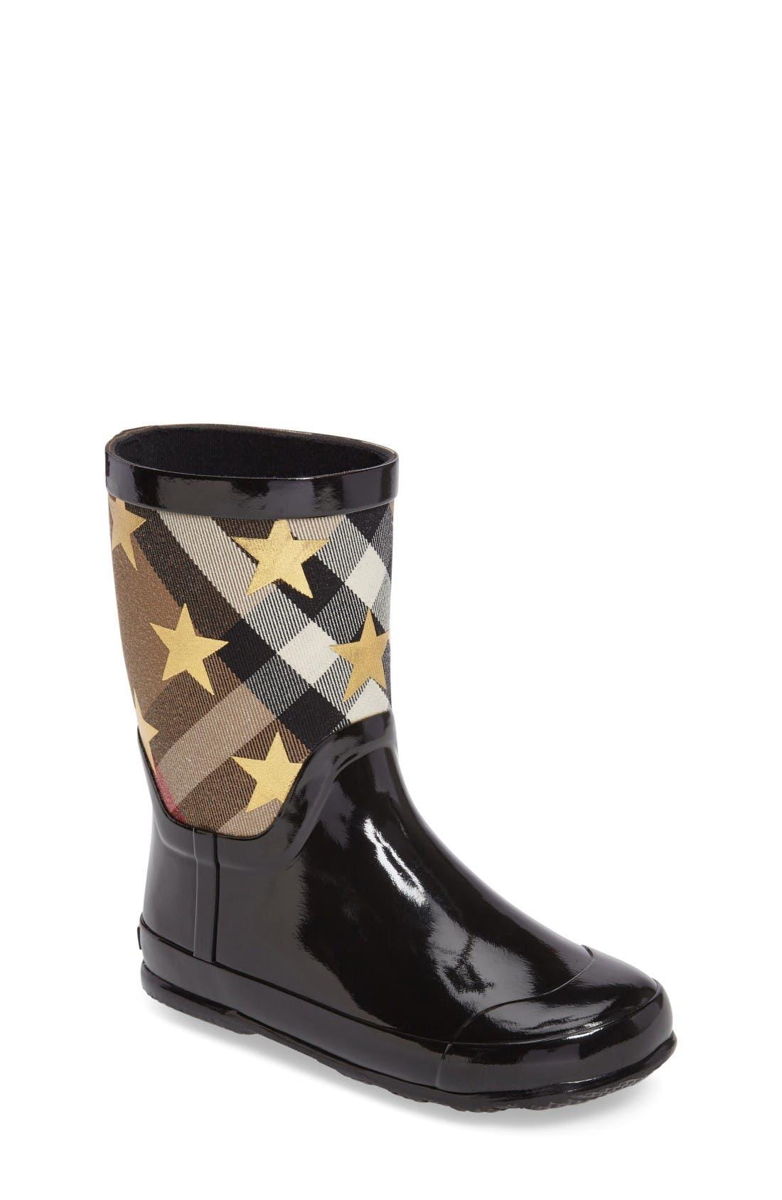 Main Image - Burberry Ranmoor Star Rain Boot (Toddler & Little Kid)