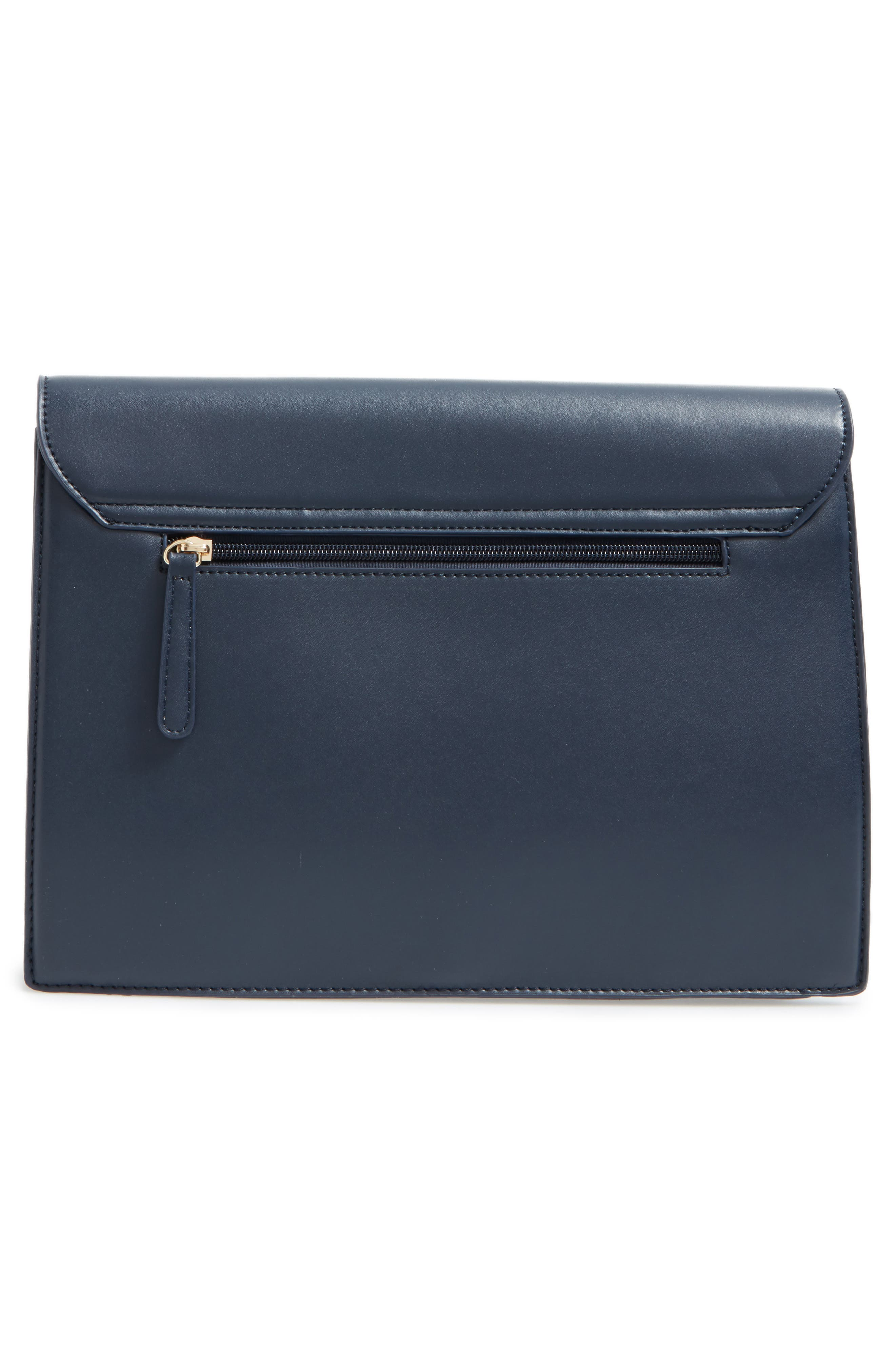 Kaitlyn Faux Leather Clutch,                             Alternate thumbnail 3, color,                             Navy