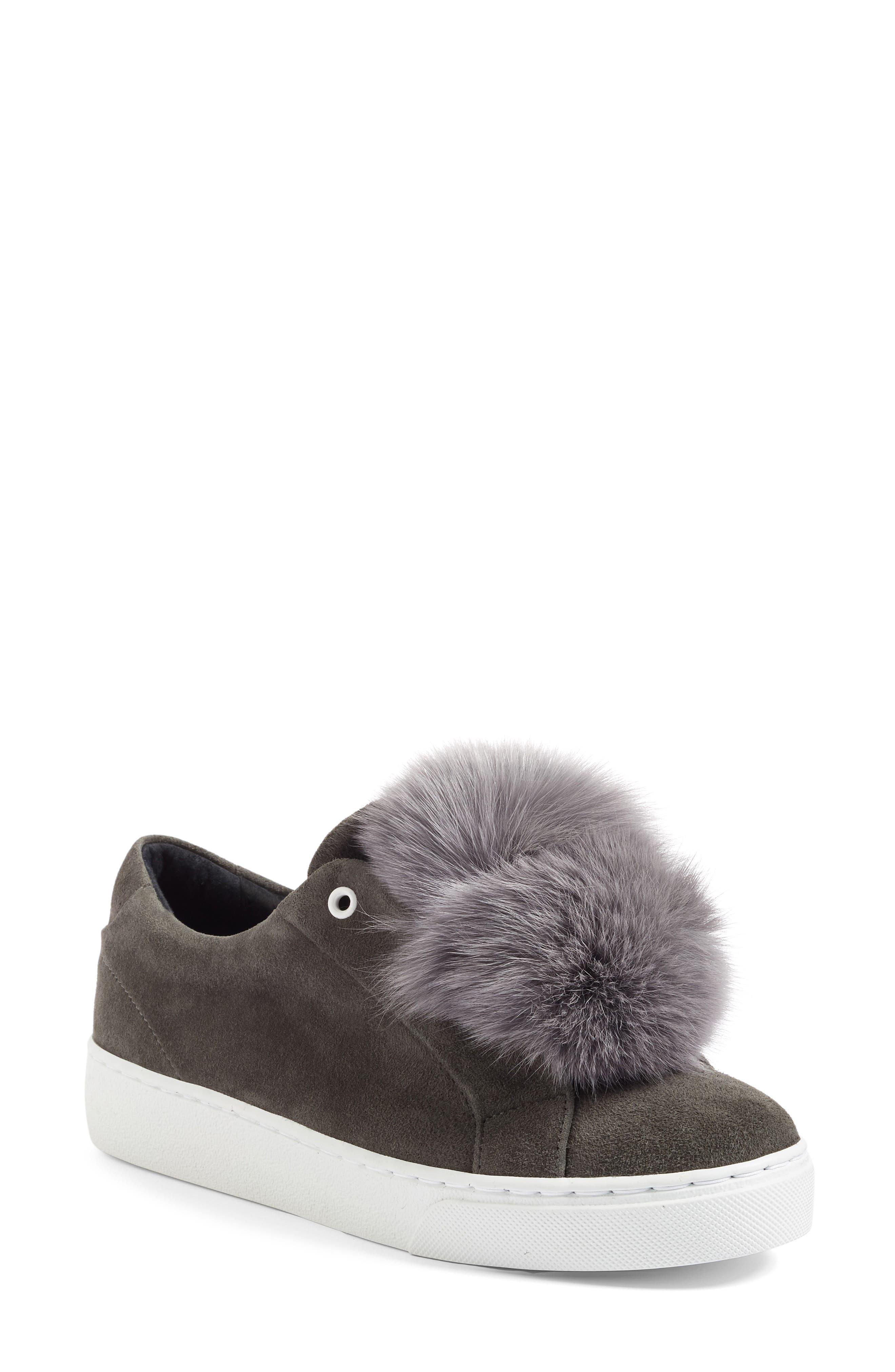Main Image - Here / Now Heather Genuine Fox Fur Trim Sneaker (Women)