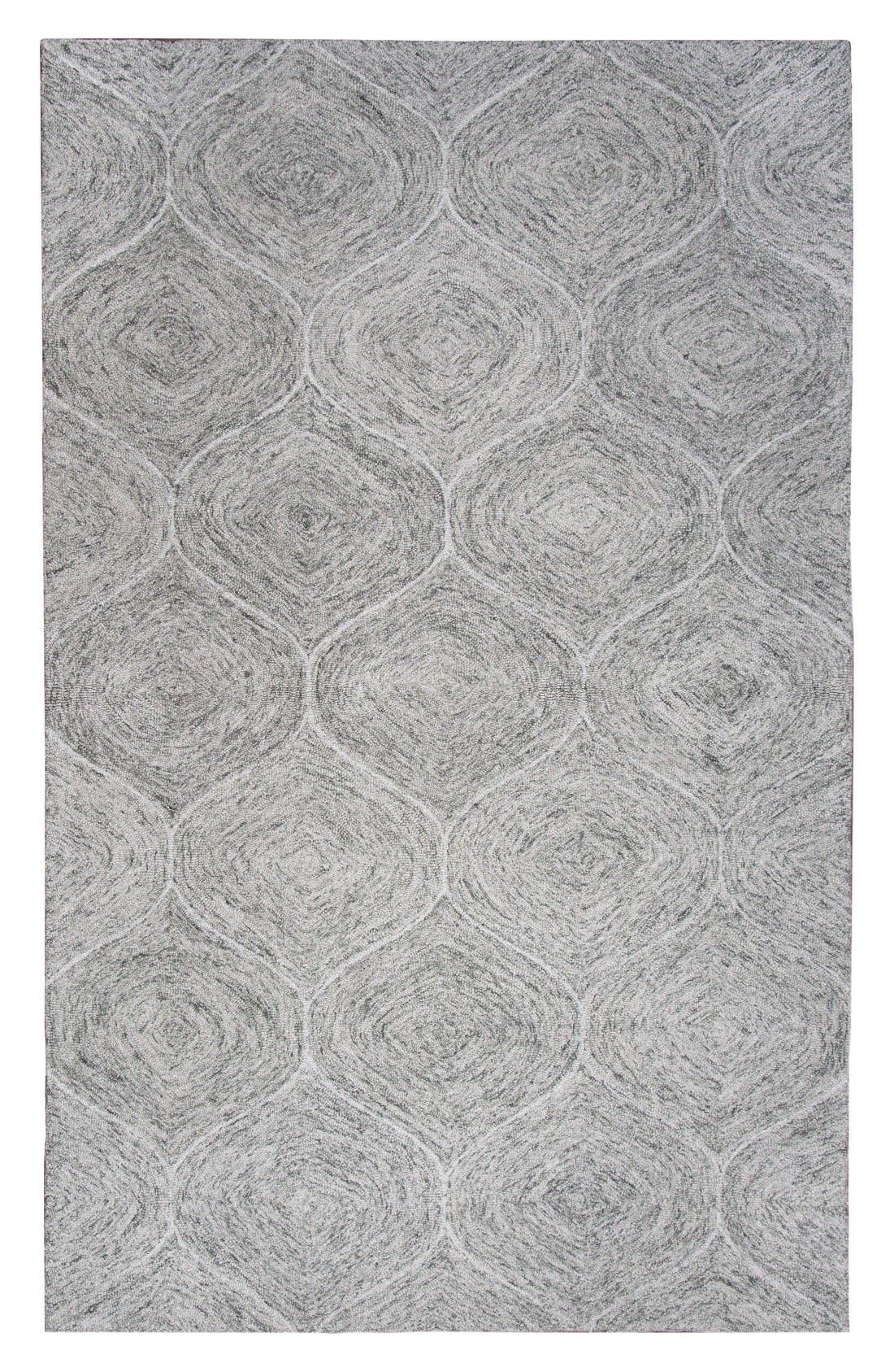 Irregular Diamond Hand Tufted Wool Area Rug,                         Main,                         color, Grey