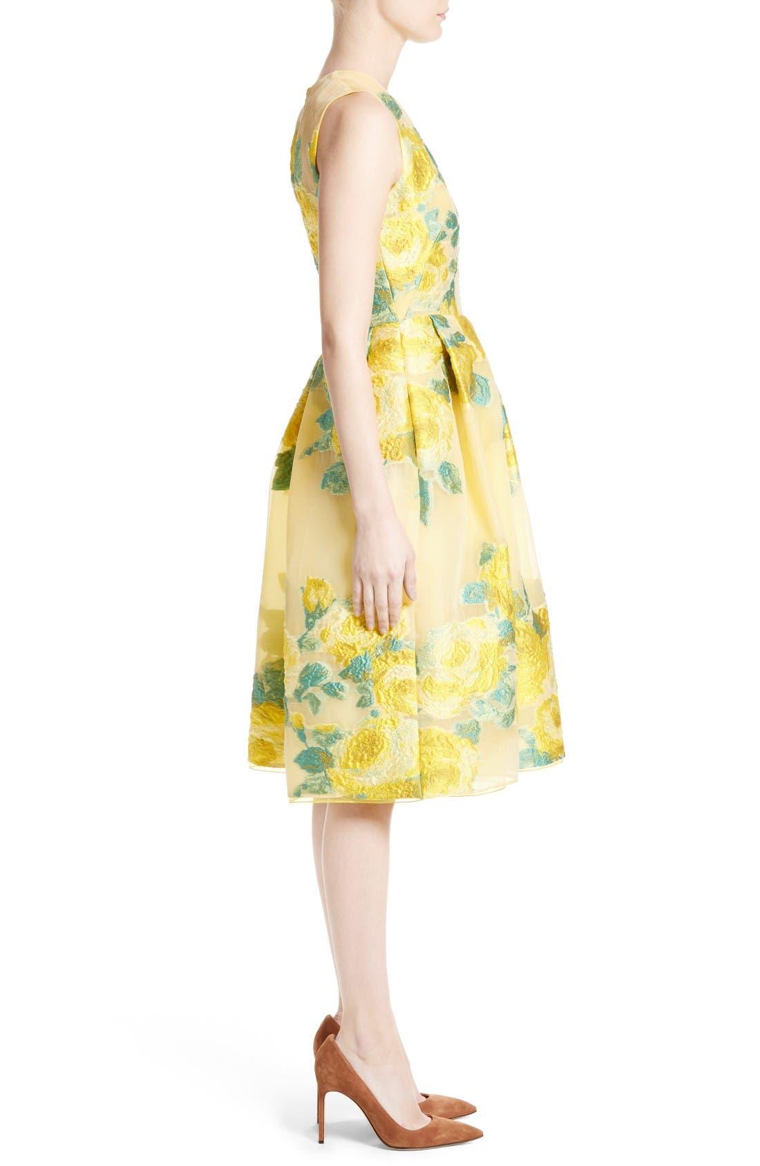 Floral Fil Coupé Dress,                             Alternate thumbnail 5, color,                             Citrine Multi