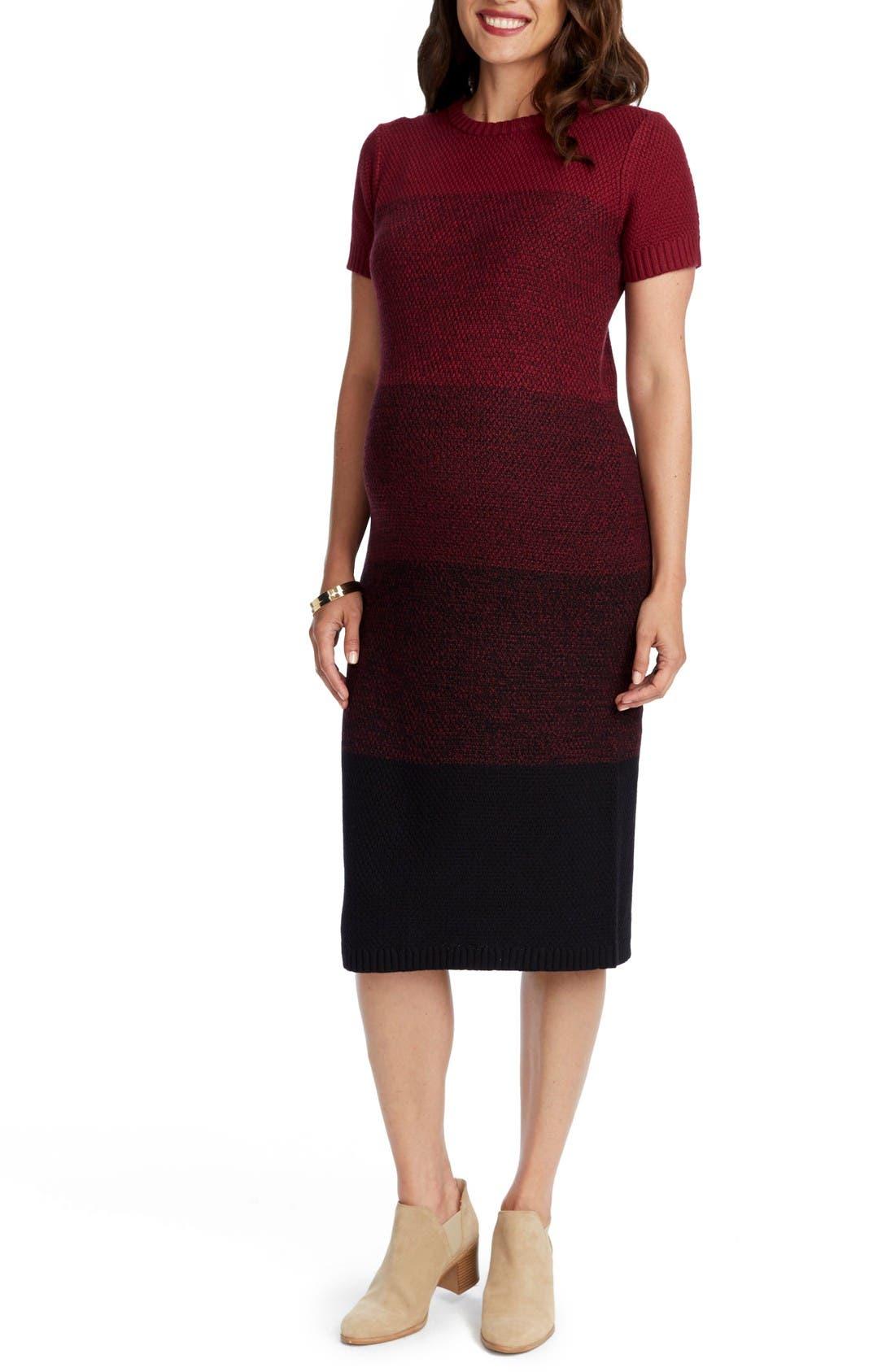 Daisy Ombré Maternity T-Shirt Dress,                             Alternate thumbnail 3, color,                             Burgundy Ombre