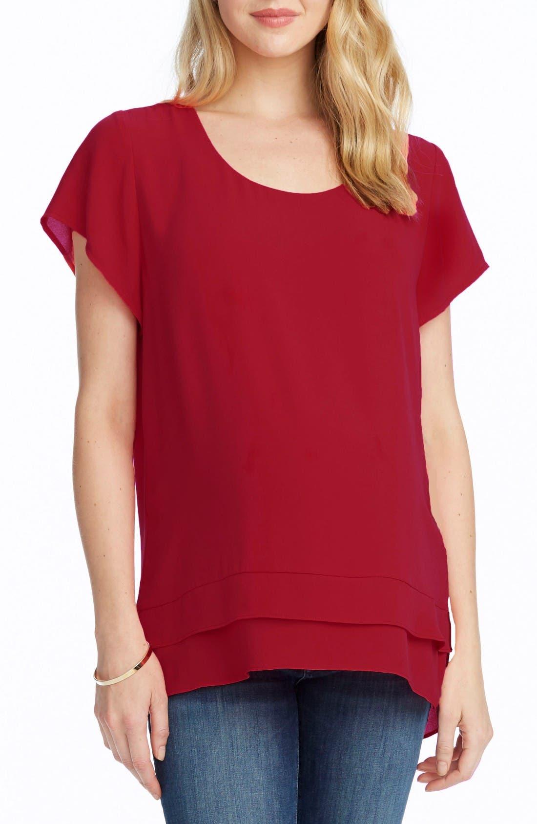 'Charlie' Flutter Sleeve Maternity Top,                         Main,                         color, Deep Ruby