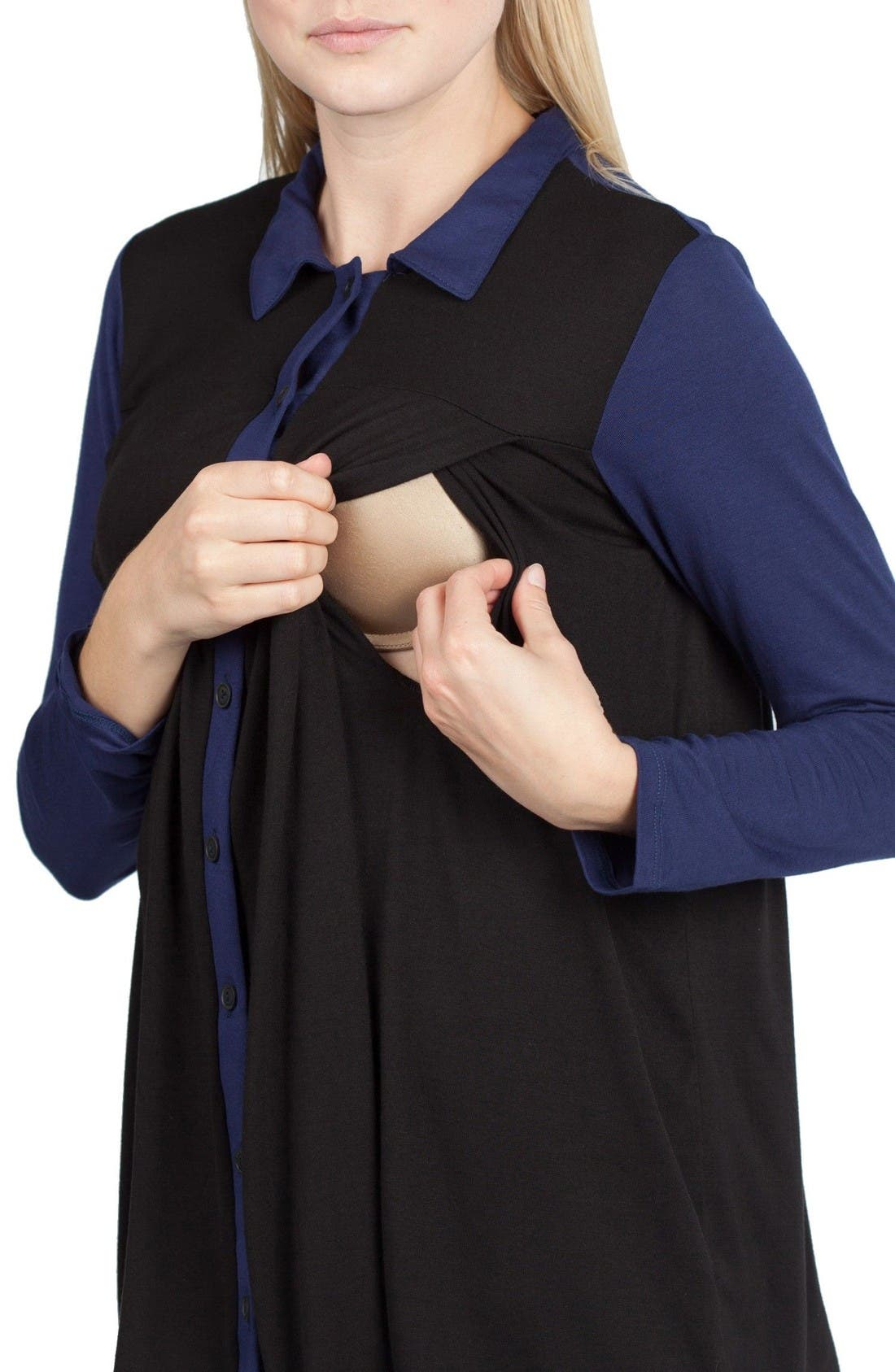 Berlin Maternity/Nursing Tunic Top,                             Alternate thumbnail 5, color,                             Black/ Navy Contrast