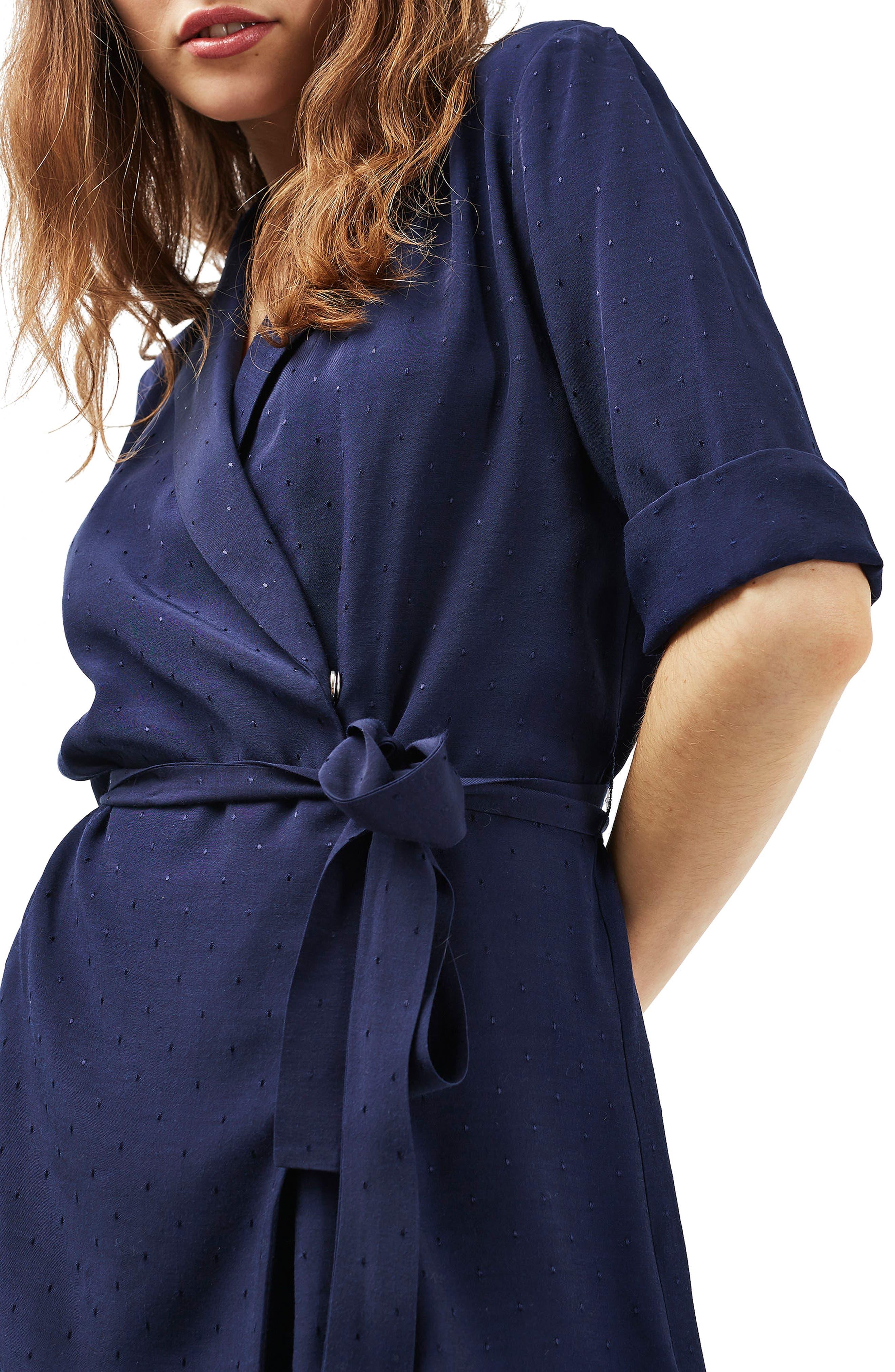 Main Image - Topshop Dot Jacquard Wrap Dress