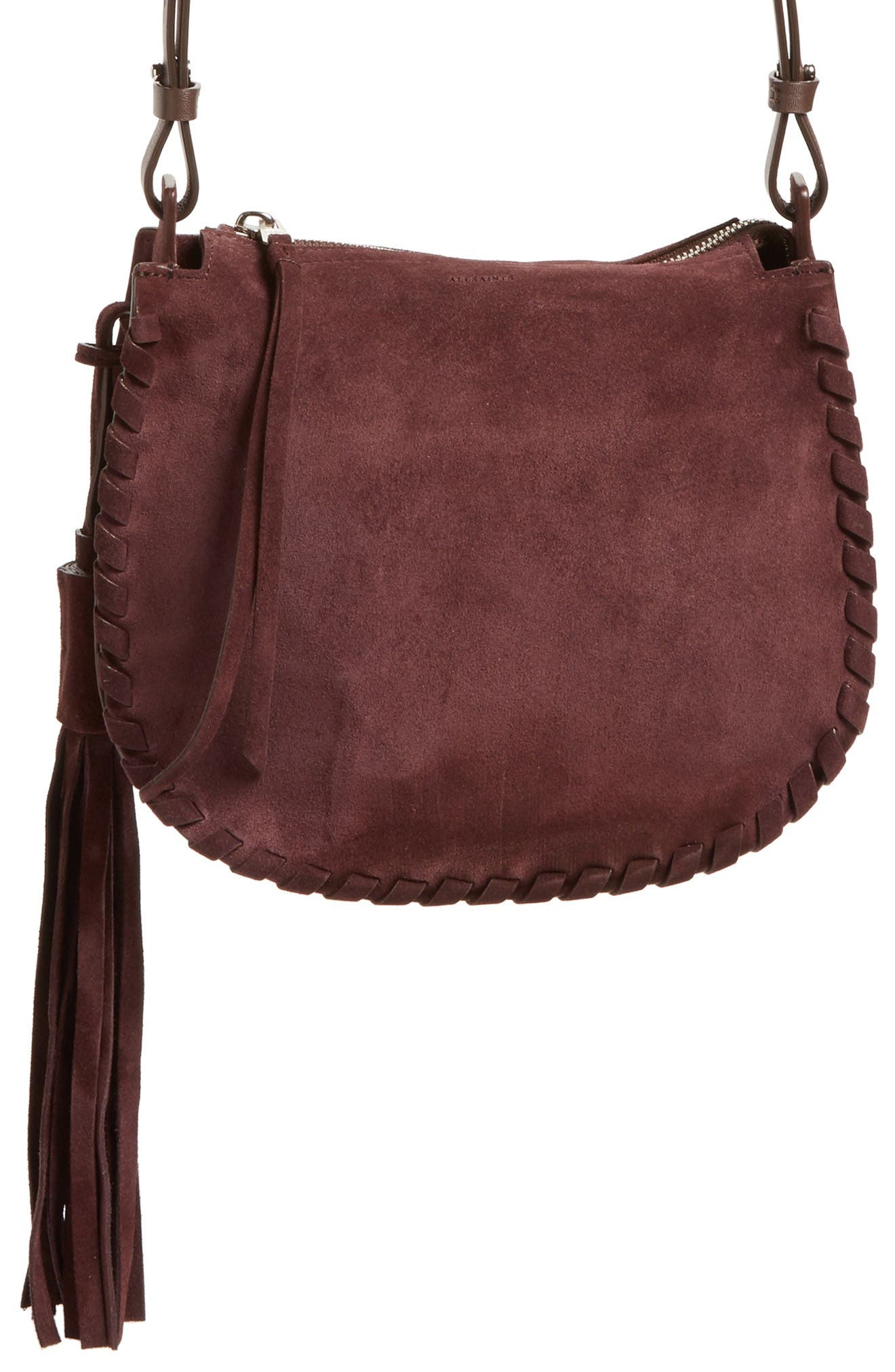 Alternate Image 1 Selected - ALLSAINTS Mori Suede Crossbody Bag