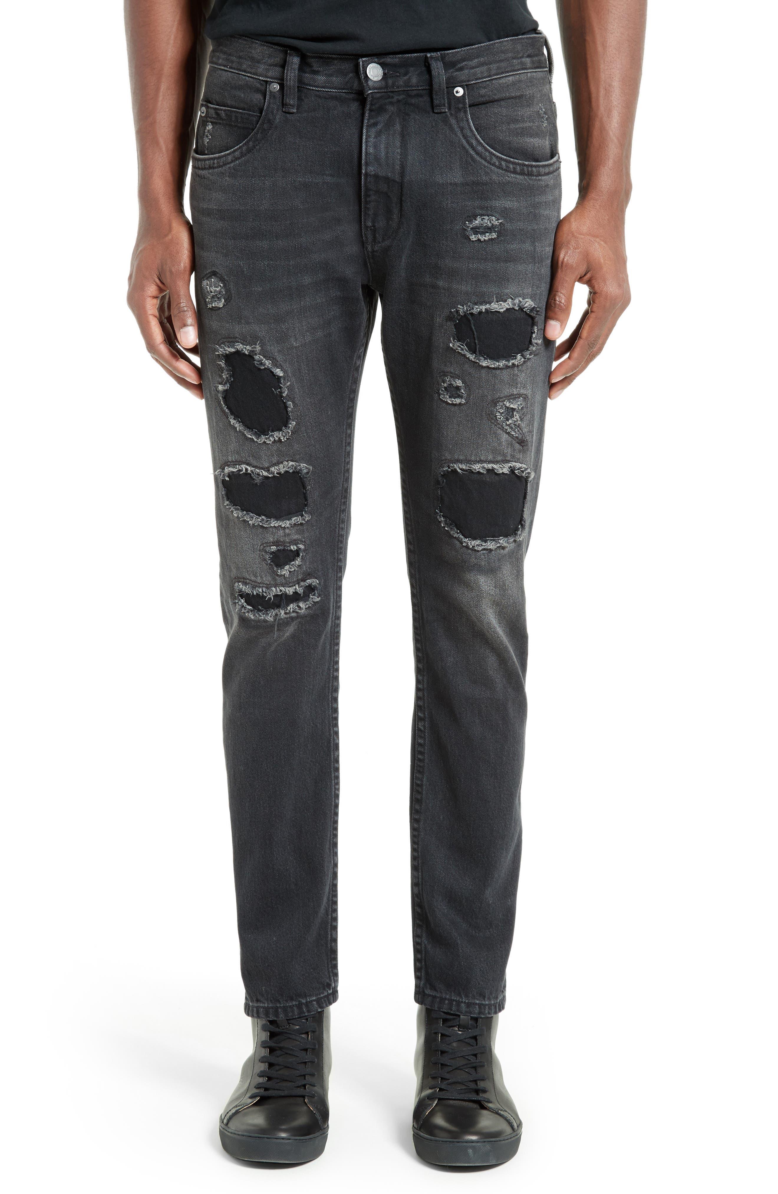MR87 Destroyed Jeans,                             Main thumbnail 1, color,                             Black