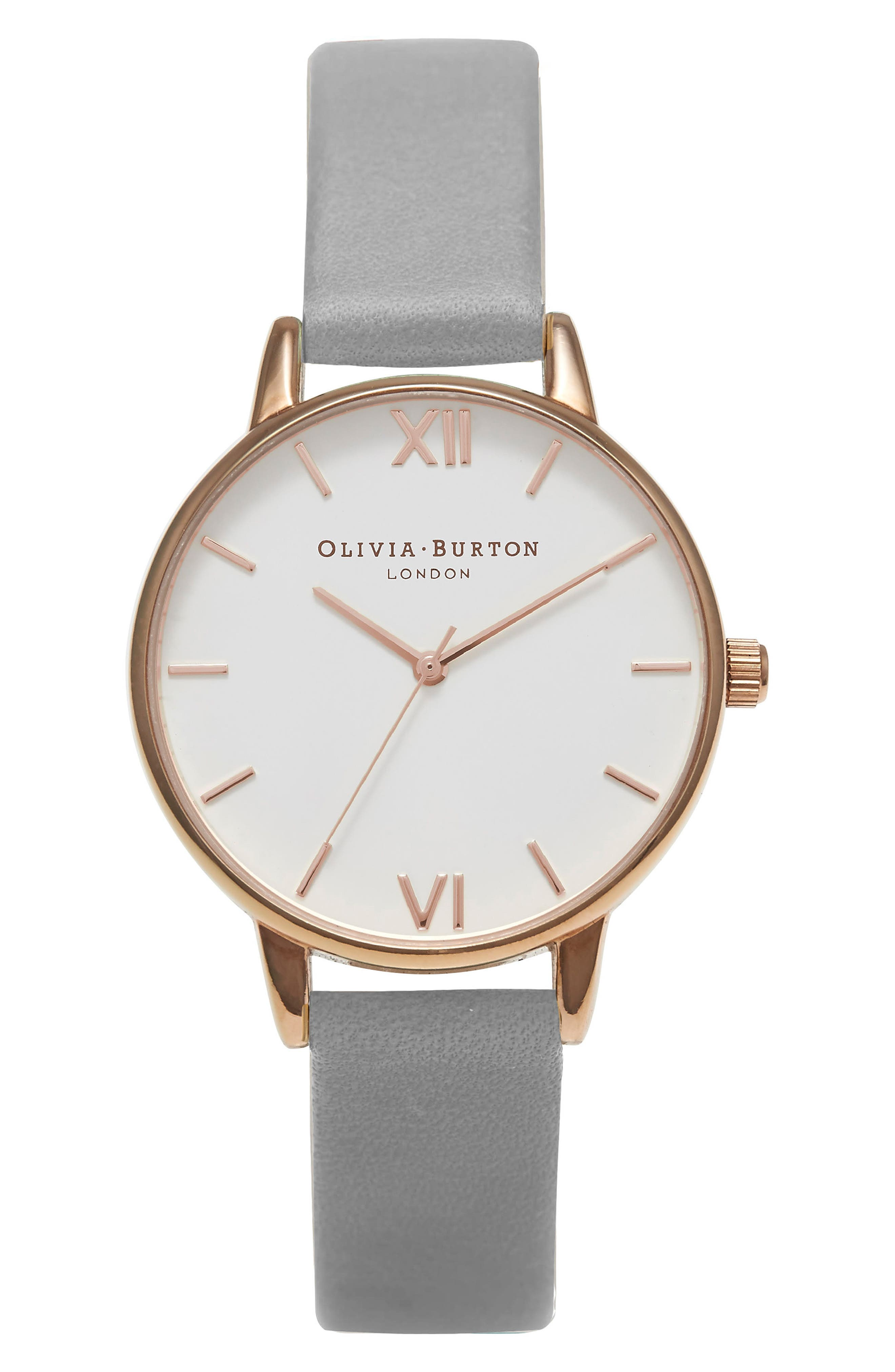 Midi Dial Leather Strap Watch, 30mm,                         Main,                         color, Grey/ White/ Rose Gold