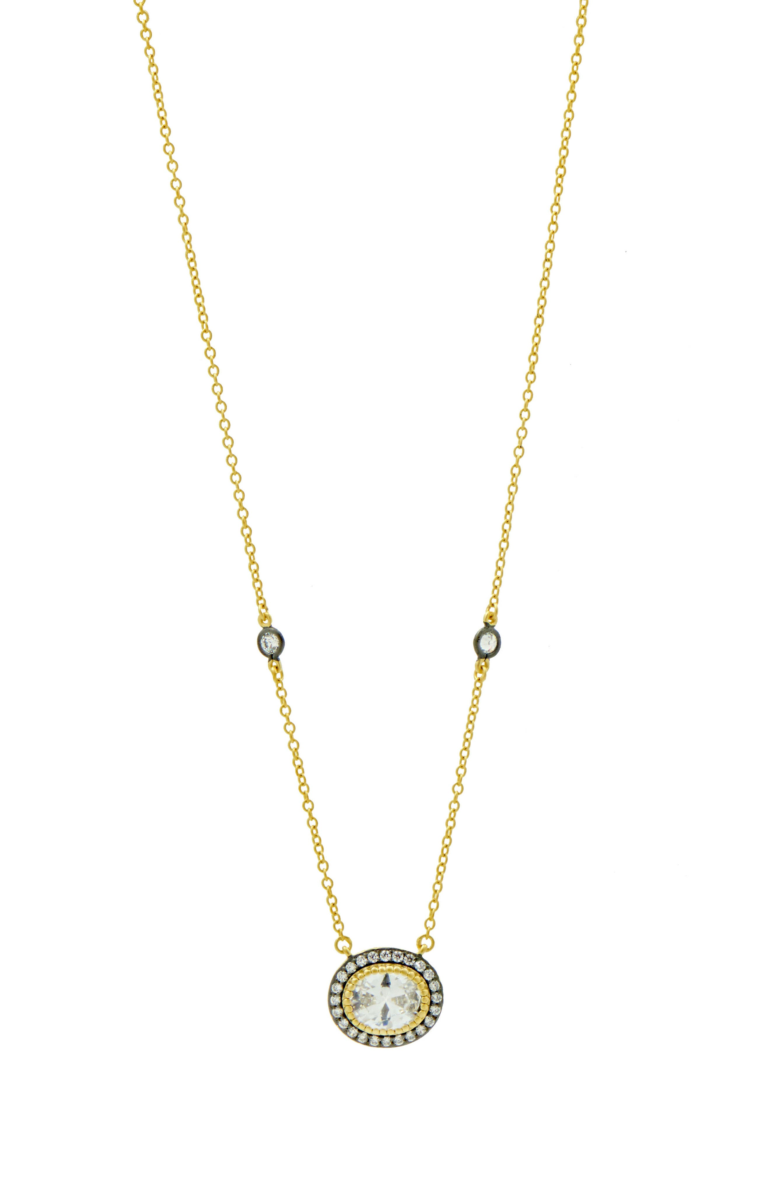 Opera Pendant Necklace,                         Main,                         color, Gold And Black Rhodium