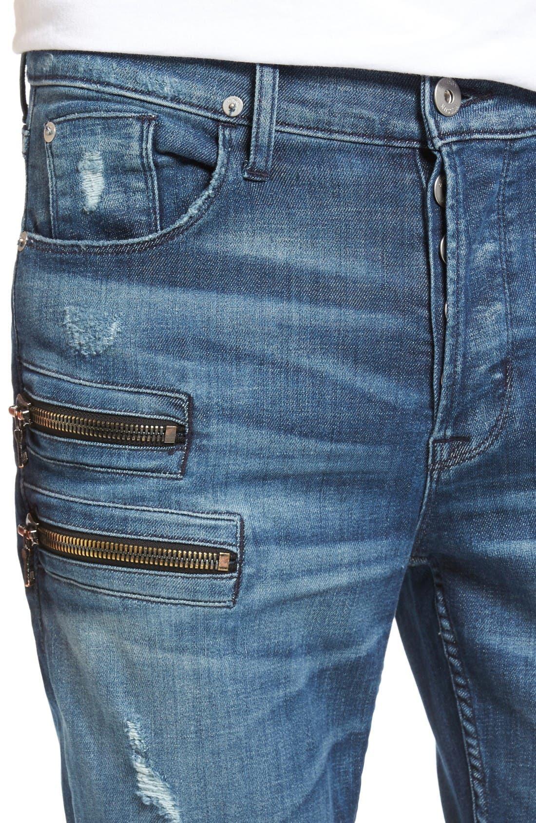 Broderick Biker Skinny Fit Jeans,                             Alternate thumbnail 4, color,                             Hayday 2