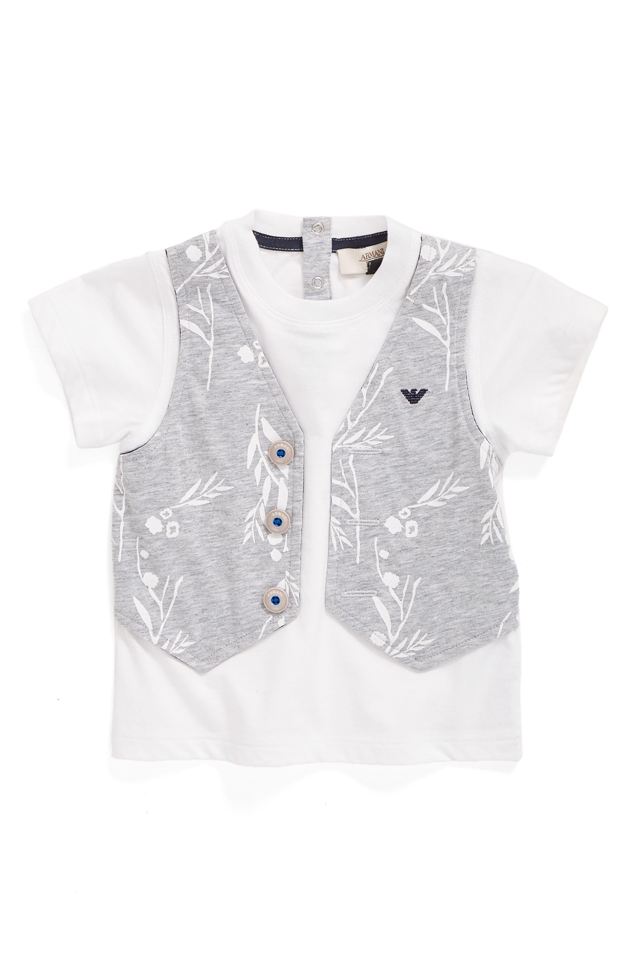 Faux Vest T-Shirt,                         Main,                         color, Grey