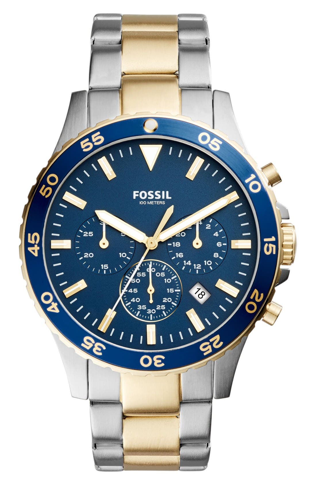 Main Image - Fossil Crewmaster Chronograph Bracelet Watch, 46mm