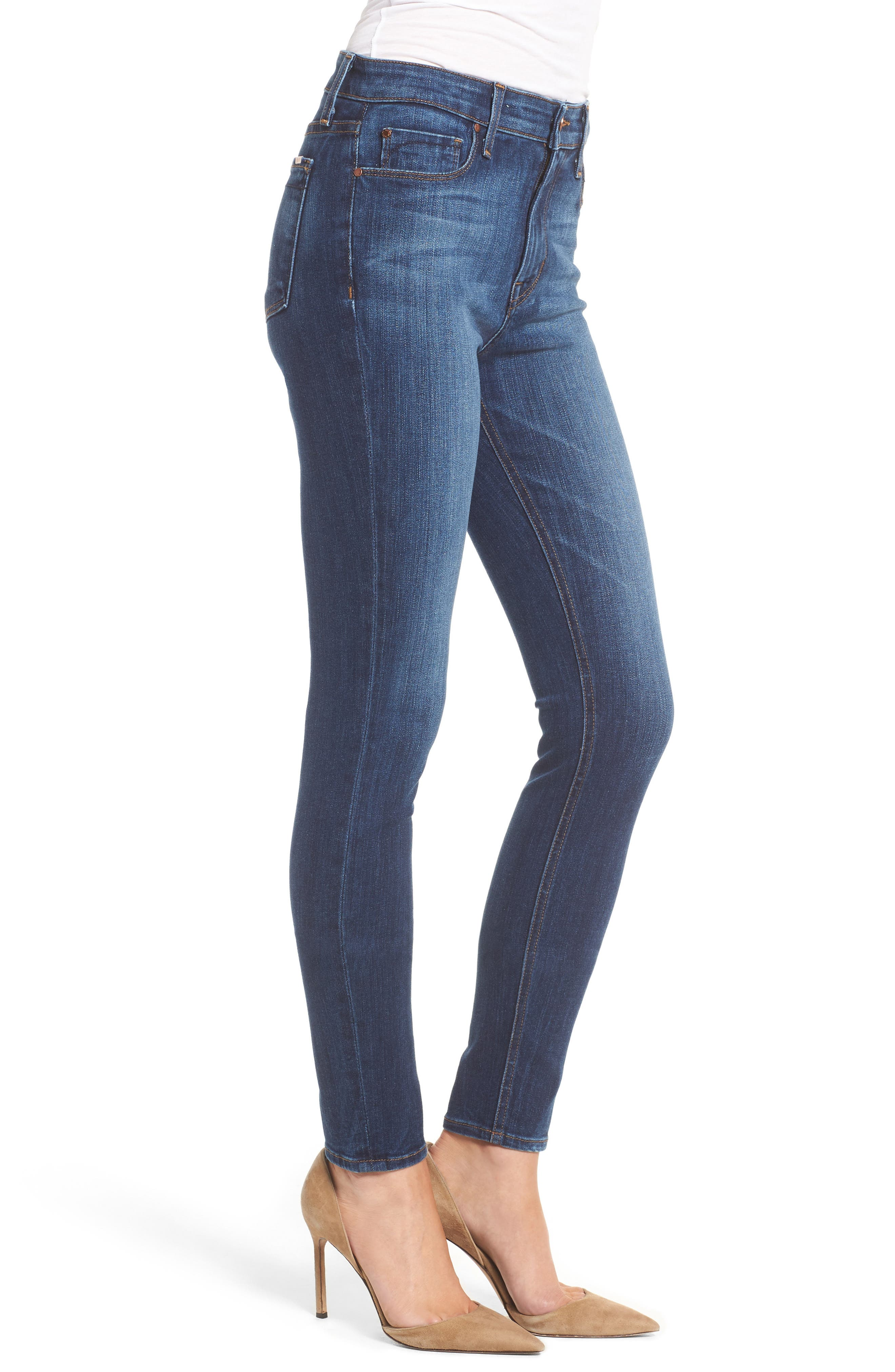 Gwen High Waist Skinny Jeans,                             Alternate thumbnail 3, color,                             Liverpool